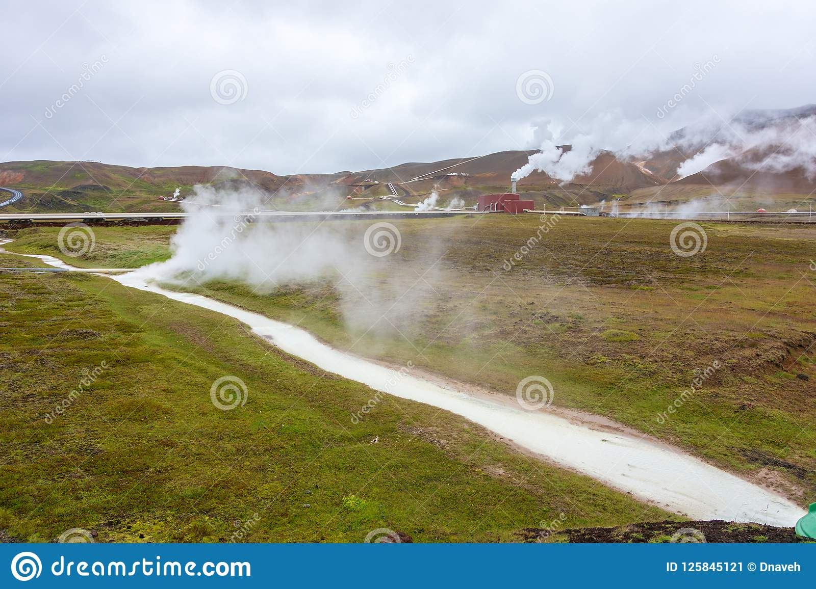 Krafla Geothermal Power station in North Iceland