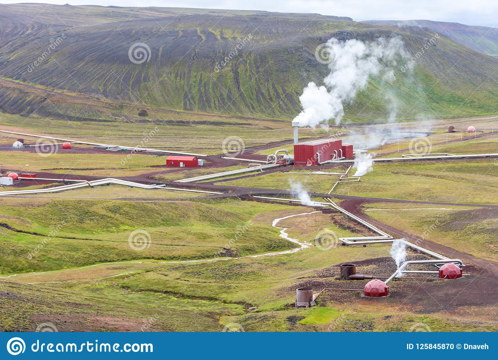 Krafla Geothermal Power station in North Iceland