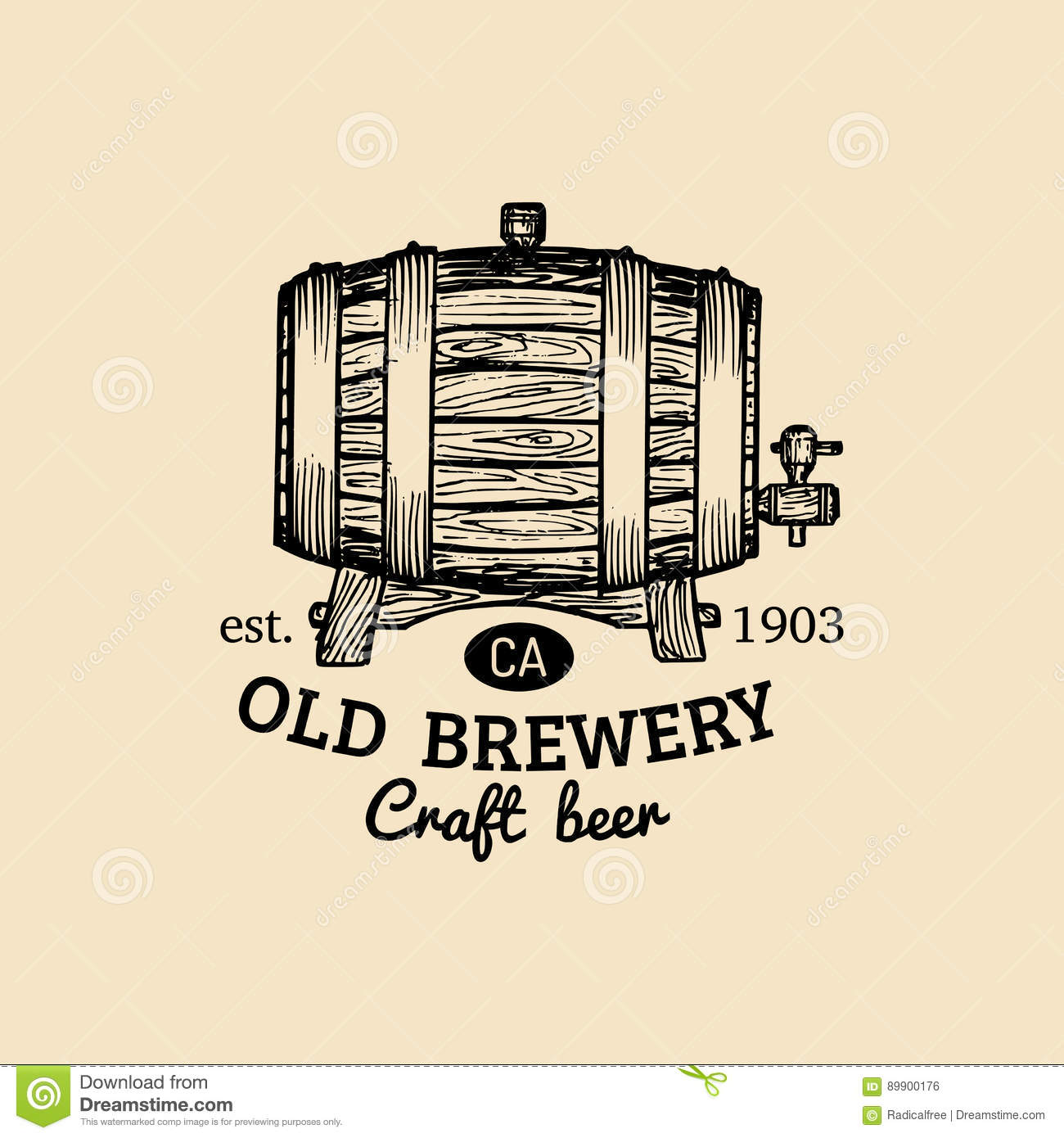 Kraft beer barrel logo. Old brewery icon. Hand sketched keg illustration. Vector vintage lager, ale label or badge.