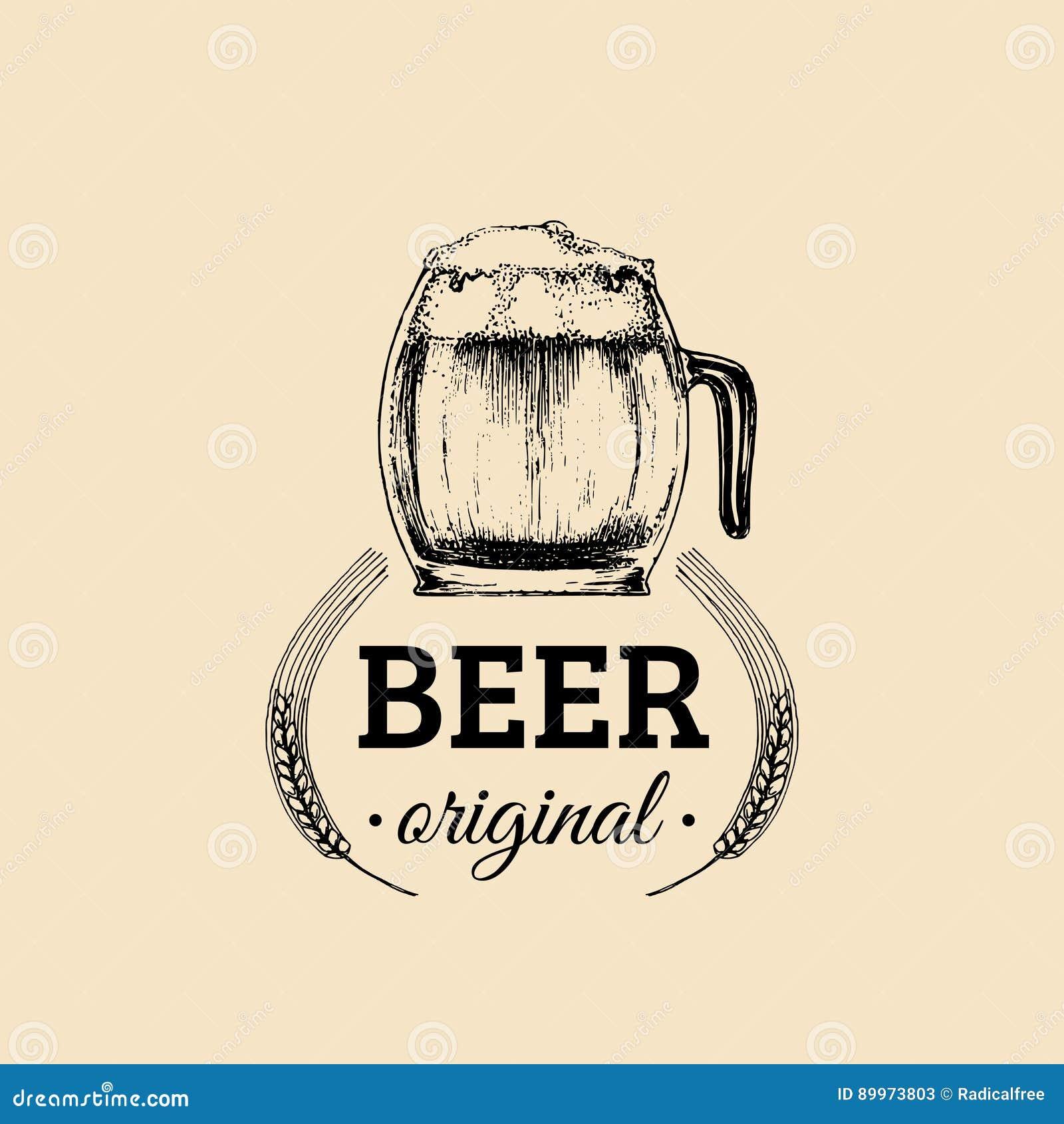 Kraft Beer Mug Logo Lager Cup Retro Sign Hand Sketched Ale Glass Illustration Vector Vintage Homebrewing Label Badge Stock Vector Illustration Of Brewery Logotype 89973803