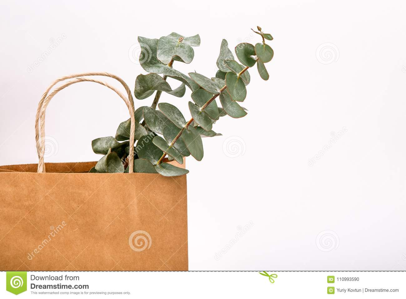 Kraft brown paper shopping bag white background Spring concept