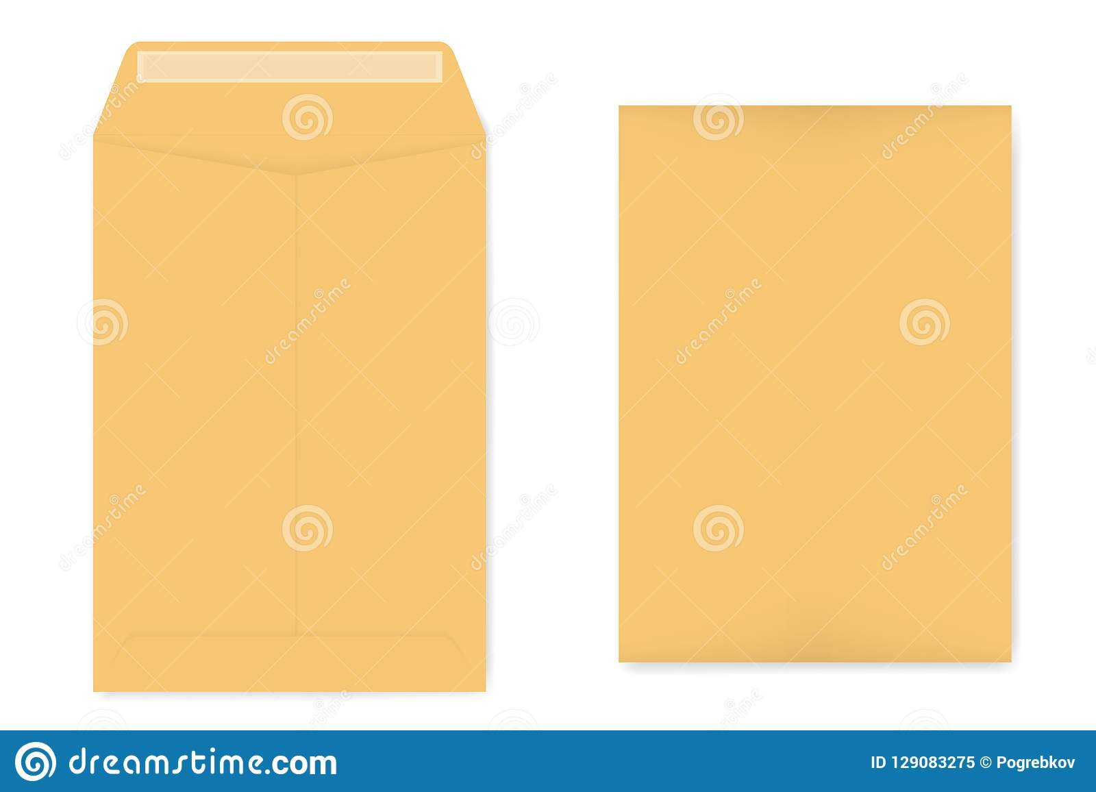 A4 kraft catalog envelope with self adhesive seal, vector template