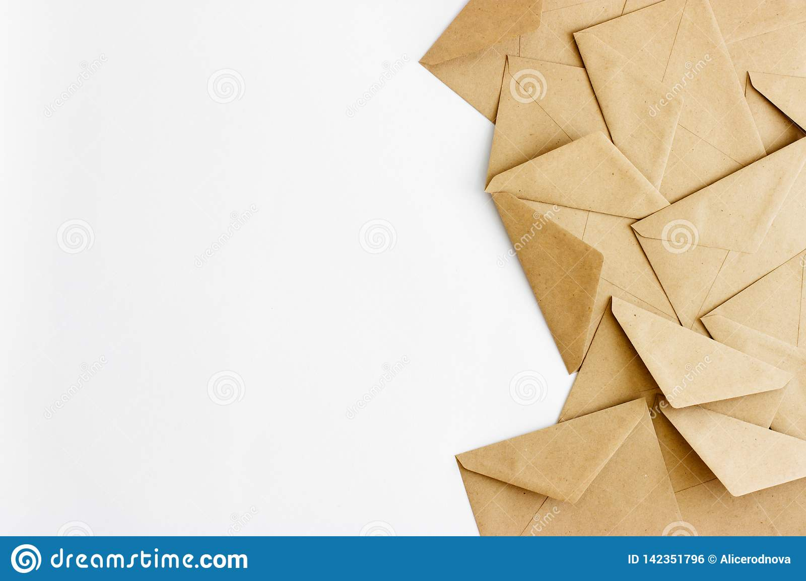 Kraft envelopes on a white background with space for text or design.