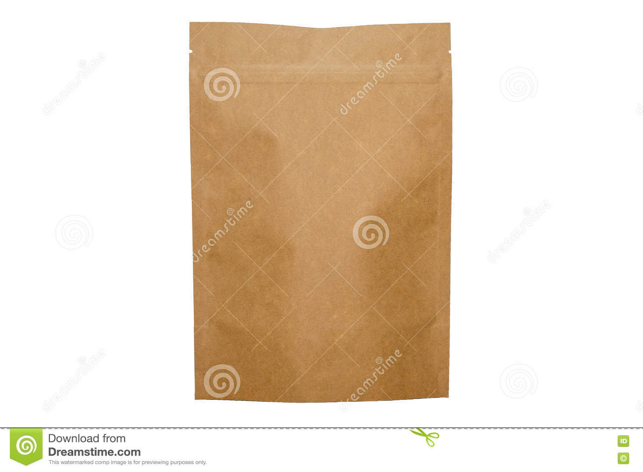 Kraft paper doypack bag with zipper on white background