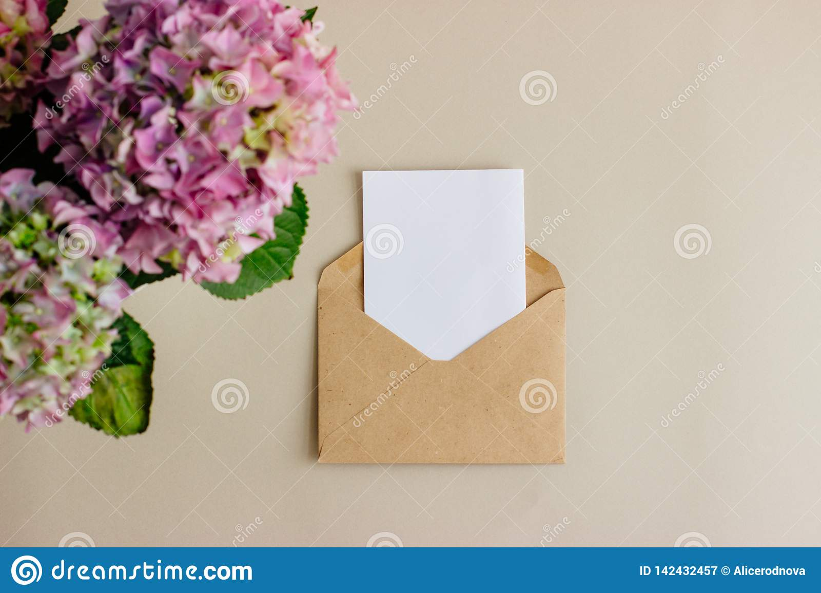 Kraft paper envelope with white card on light background.