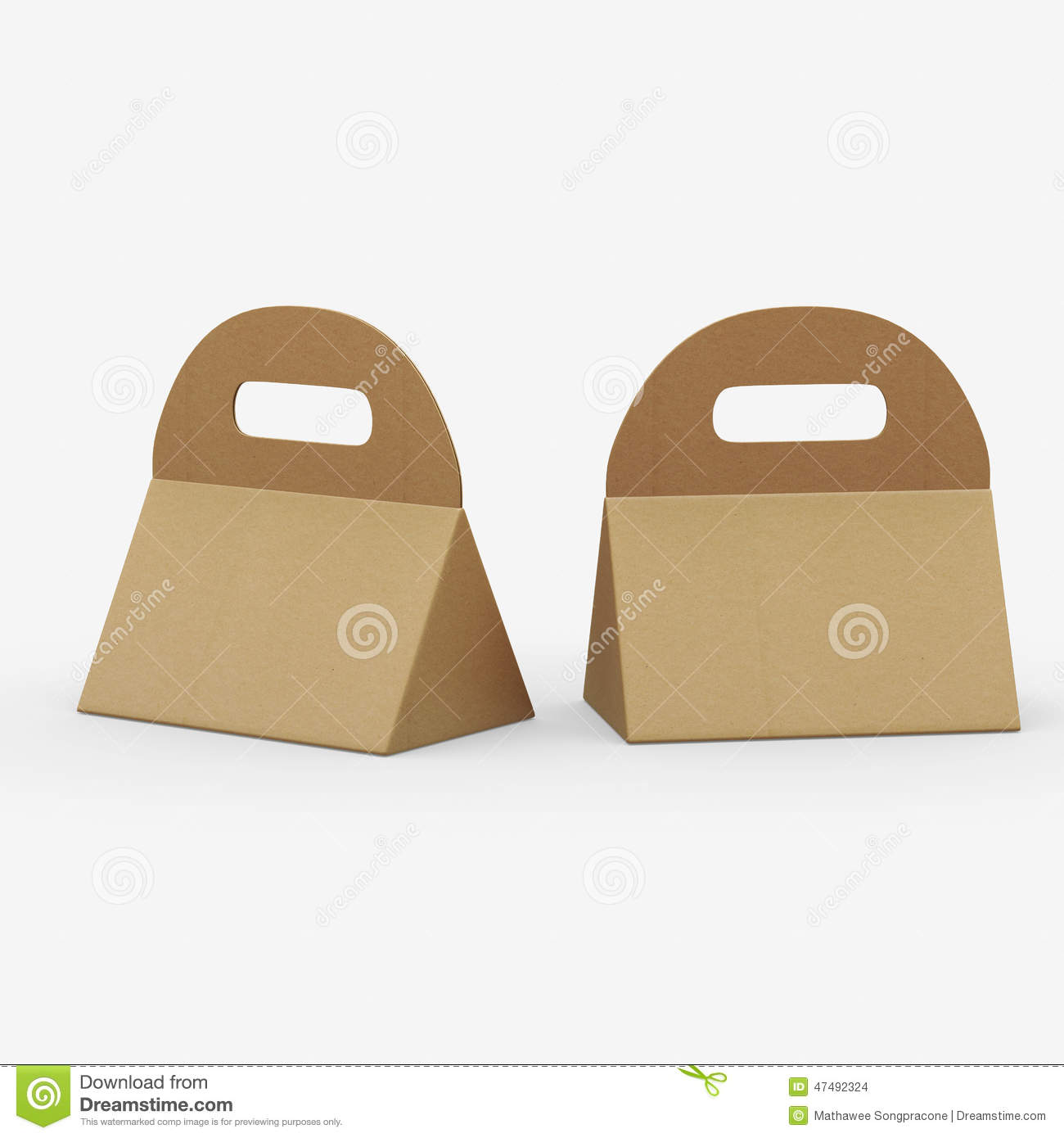 Kraft paper triangle box with handle clipping path for Triangle packaging template