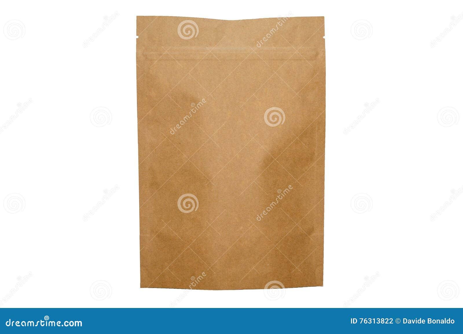 Kraftpapier-document doypack zak met ritssluiting op witte achtergrond
