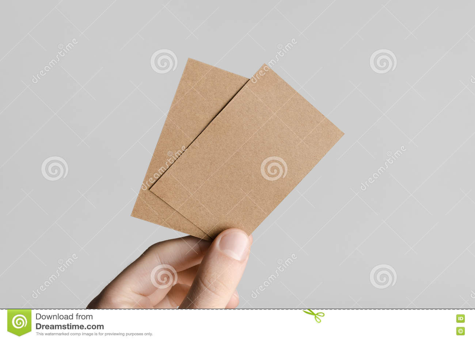 Kraftpapier Visitenkarte Modell 85x55mm Stockfoto Bild