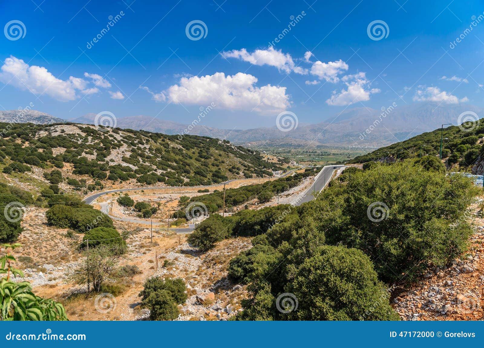 Krajobraz Crete wyspa przy Lasithi okręgiem
