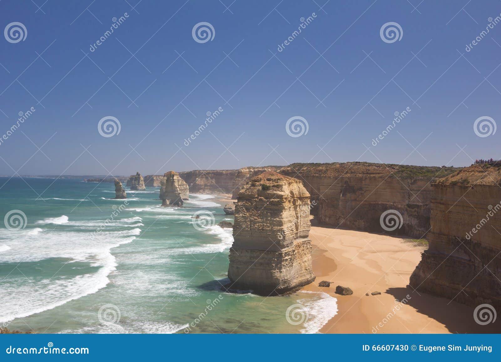 Krajobraz Dwanaście apostołów wzdłuż Wielkiej ocean drogi