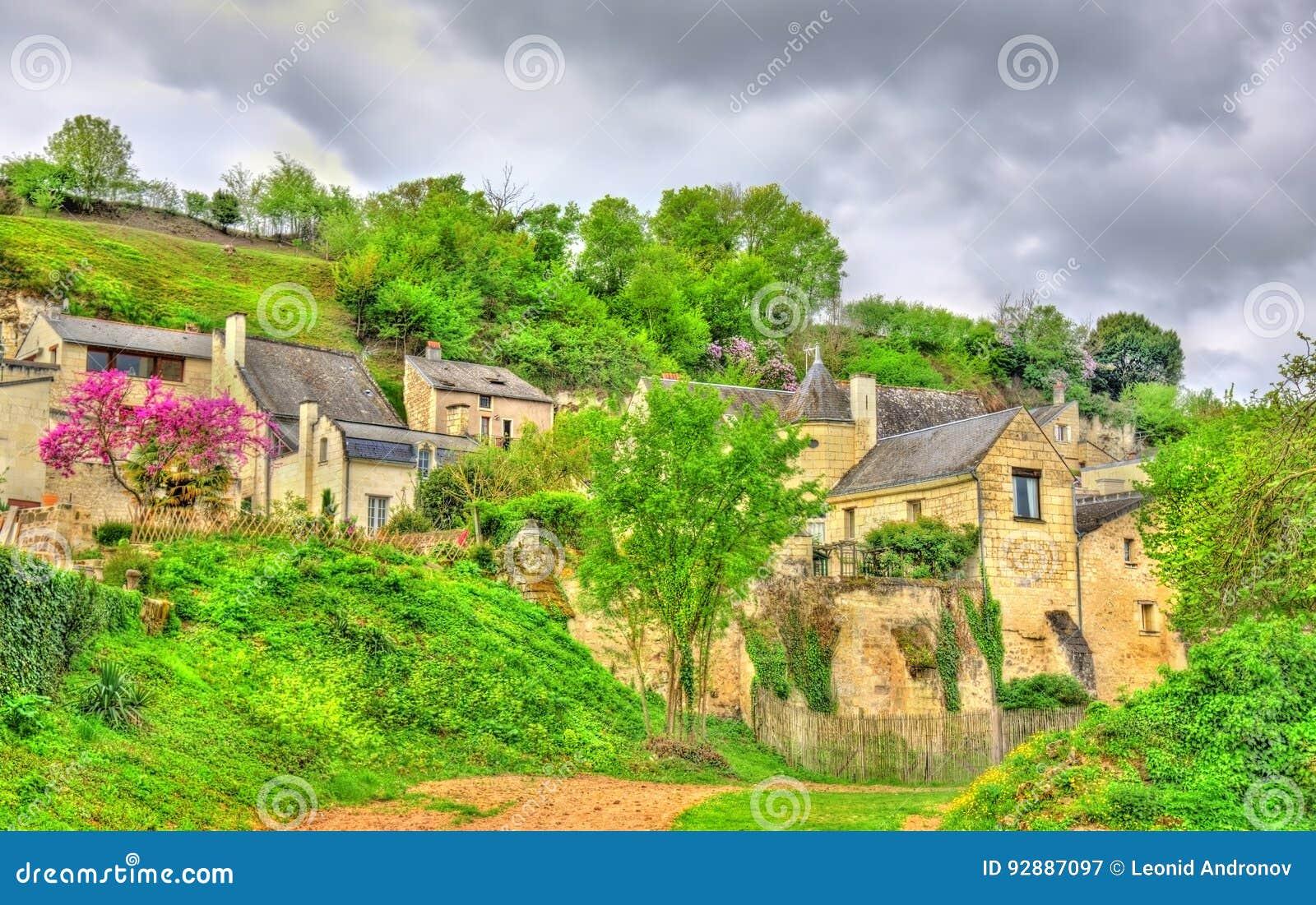 Krajobraz przy górską chatą De Montsoreau na banku Loire w Francja