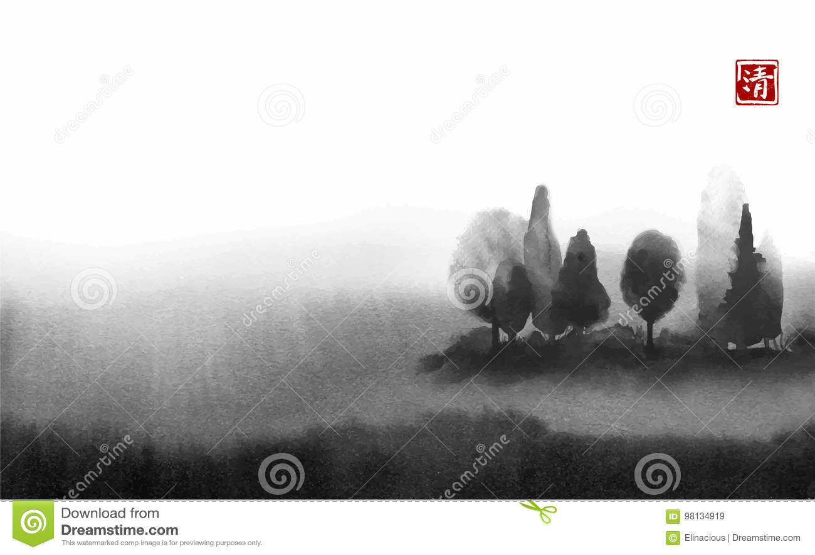 Krajobraz z drzewami w mgły ręce rysującej z atramentem w azjata stylu na białym tle meadow mglista Tradycyjny orientalny
