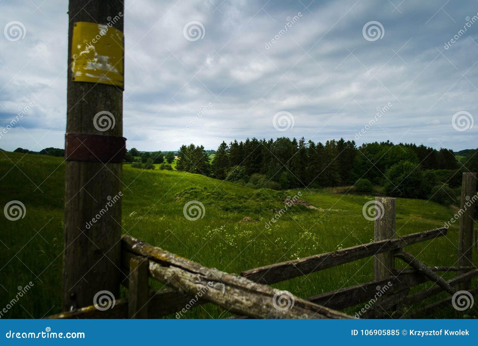 Krajobraz z ogrodzeniem w przedpolu