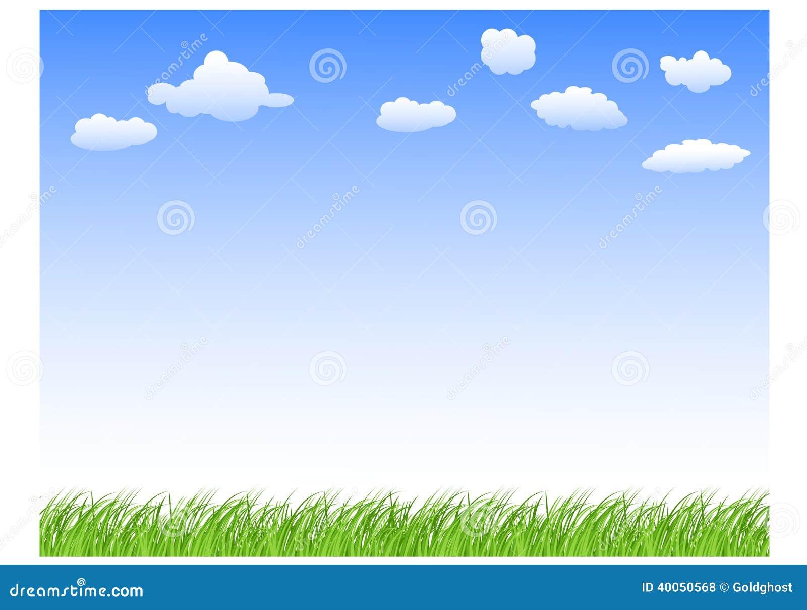 Krajobraz z traw chmurami i niebem
