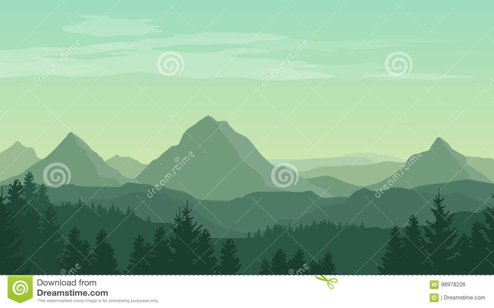 Krajobraz z zielonymi sylwetkami góry, wzgórza i las,