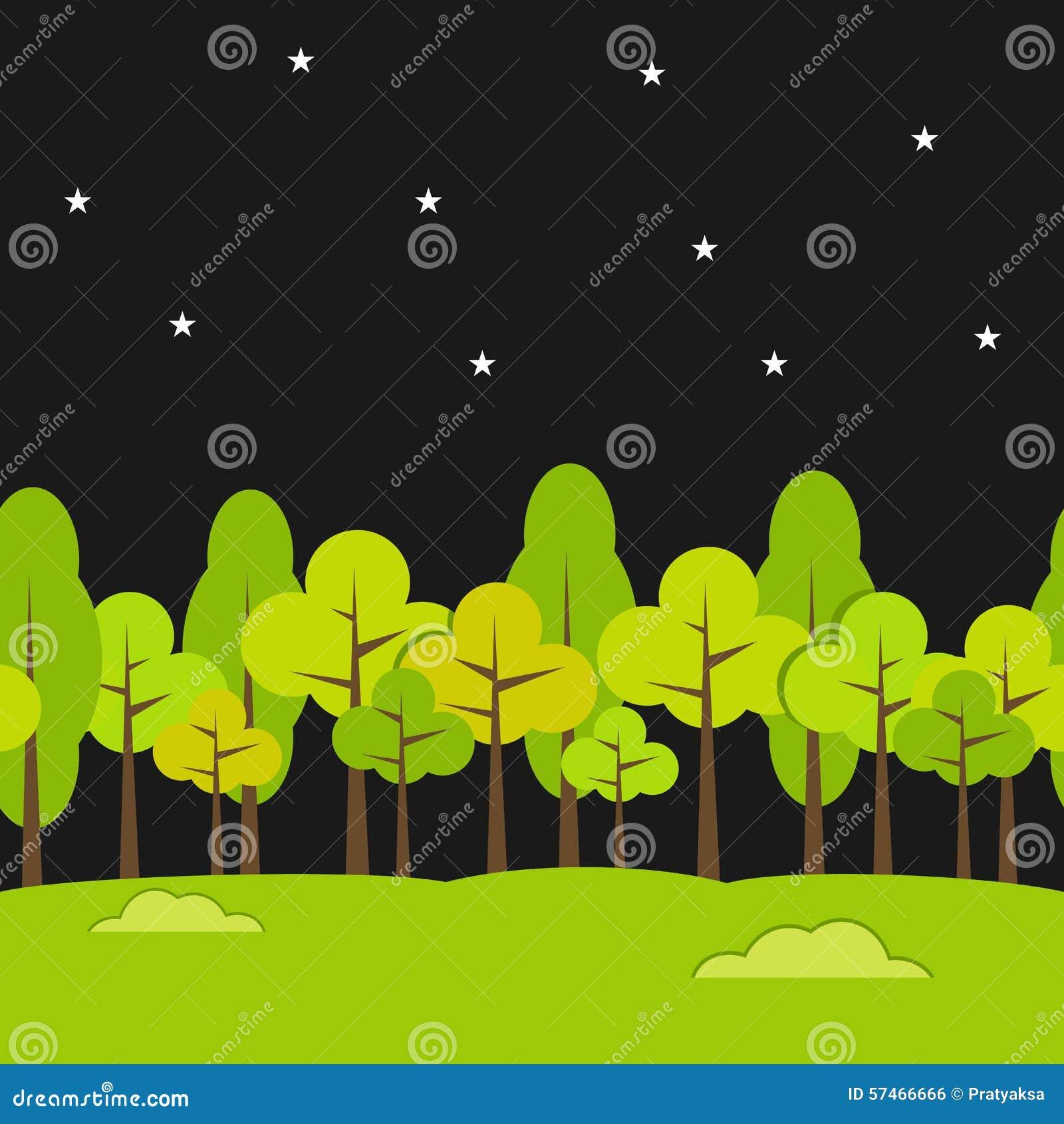 Krajobrazowy Bezszwowy tło Nocy tło