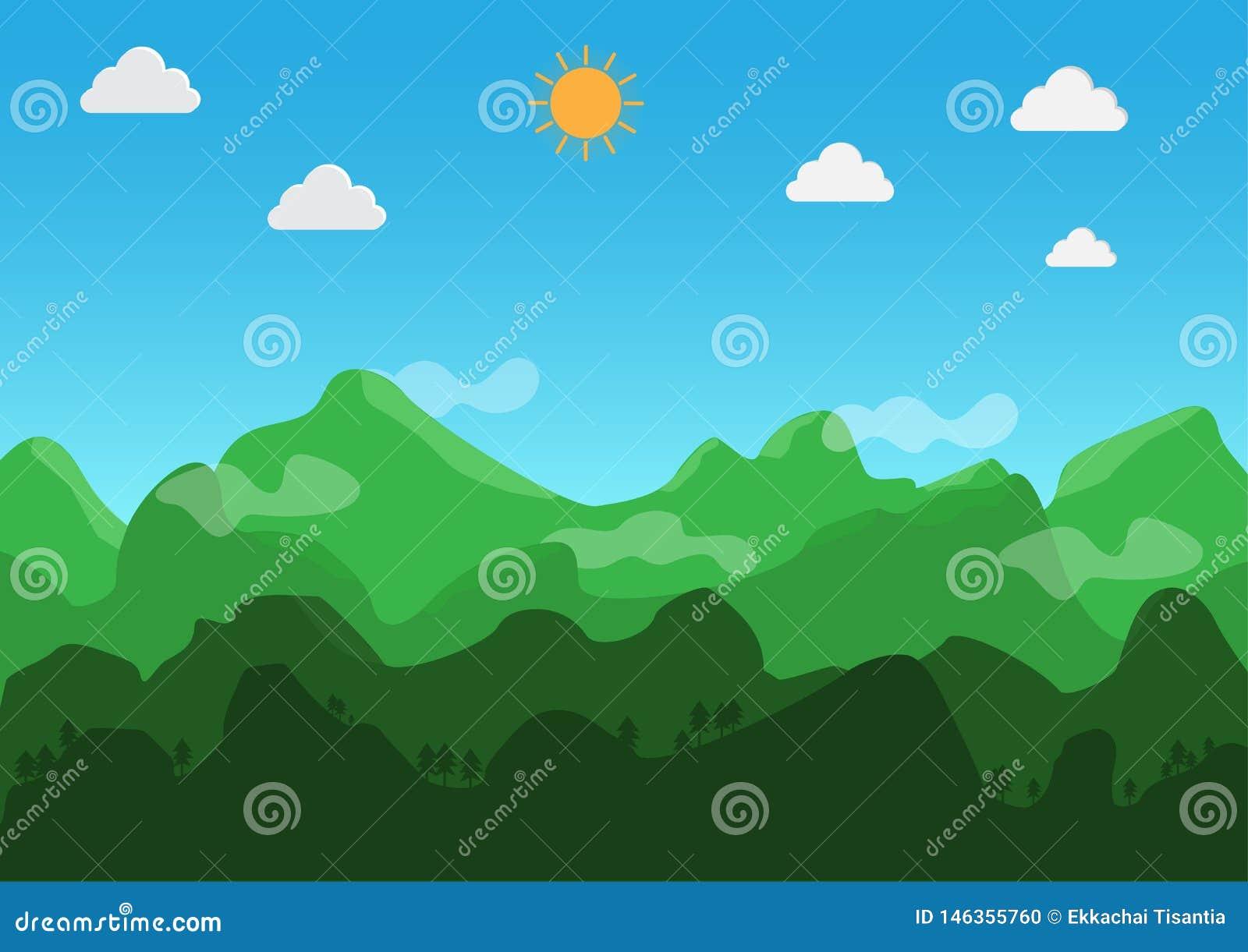 Krajobrazowy p?aski projekt W ciągu dnia pogoda jest jasna wektor ilustracja