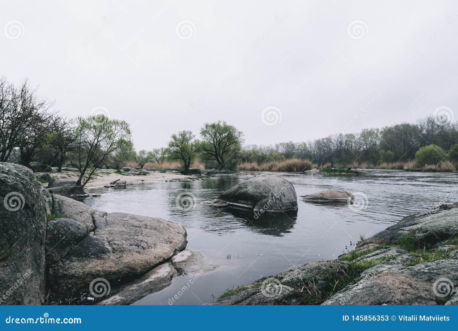 Krajobrazowy strumyk z kamień bieżącej wody cicho tłem