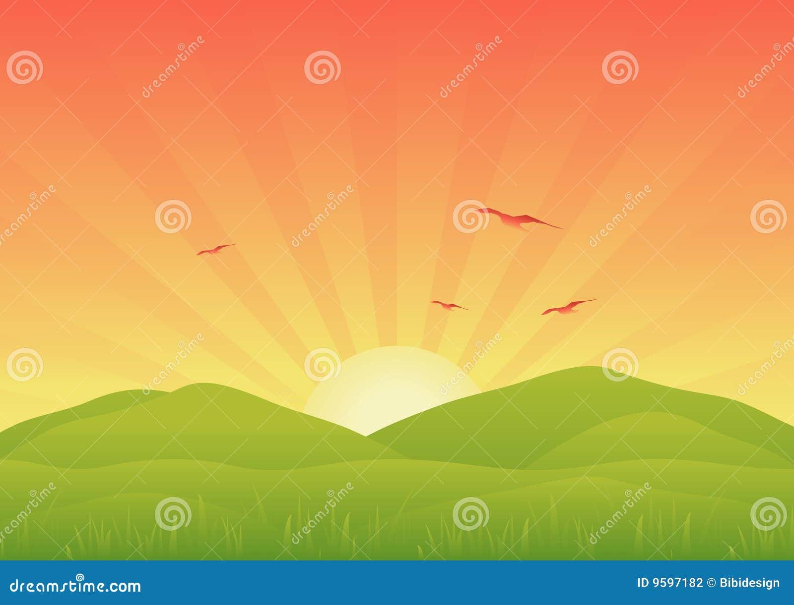 Krajobrazowy wschód słońca