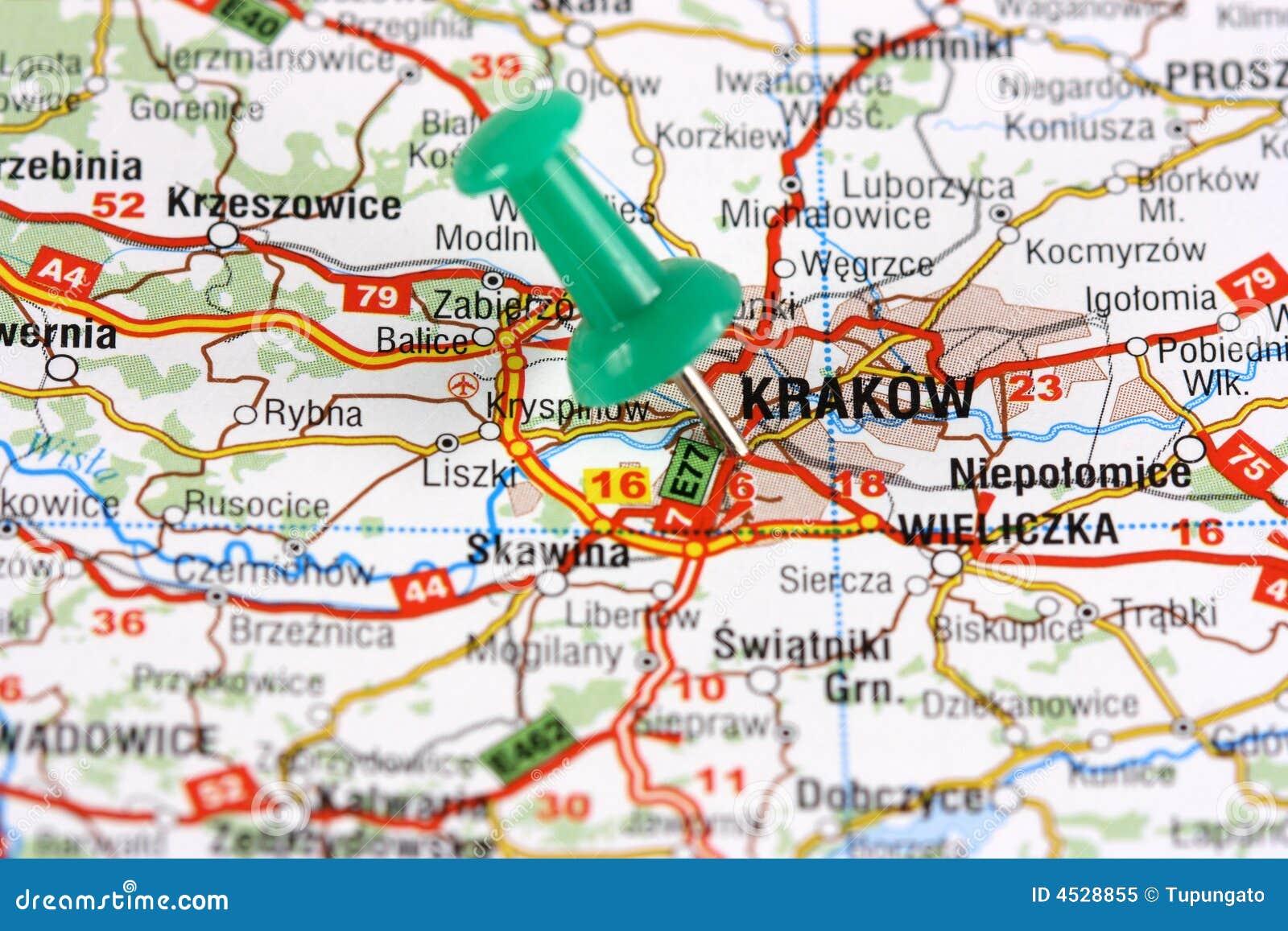 krakau steckte auf karte fest lizenzfreies stockfoto bild 4528855. Black Bedroom Furniture Sets. Home Design Ideas