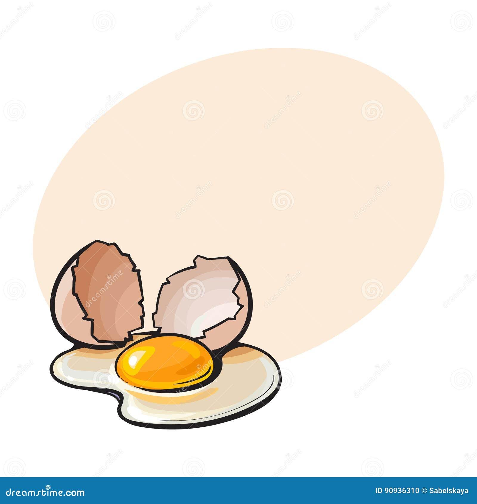 Krakingowy, łamający i rozlewający kurczaka jajko, nakreślenie stylowa wektorowa ilustracja