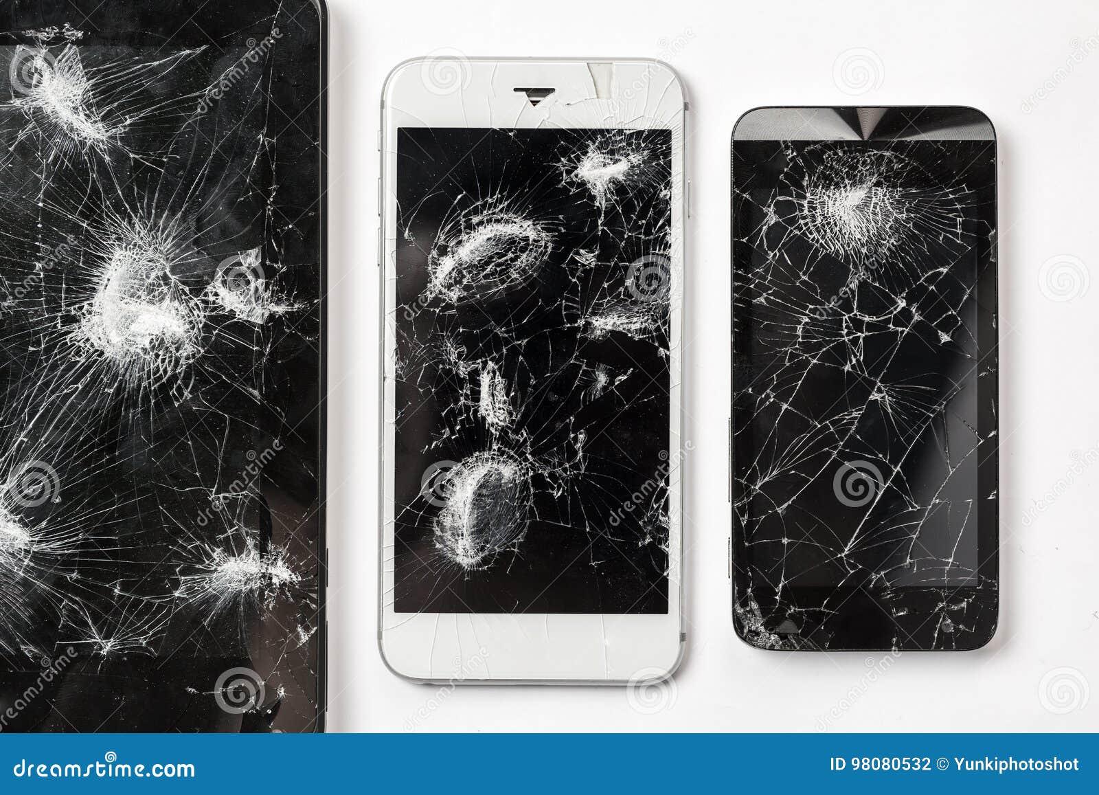 Krakingowy ekran smartphone szkieł odgórnego widoku mobilna czarna fotografia