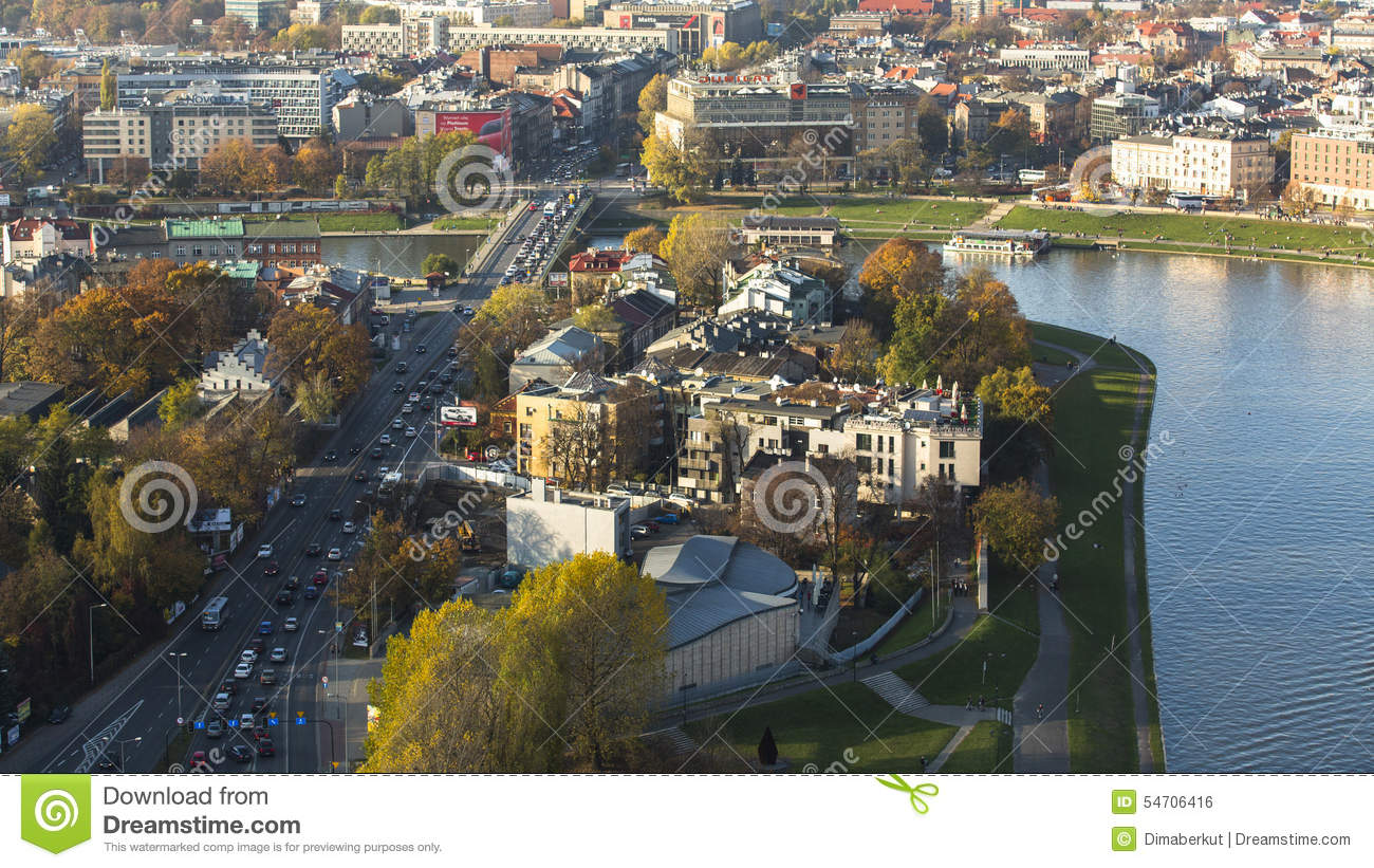 KRAKOW, POLAND - Aerial view of one of districts in historical center of Krakow.
