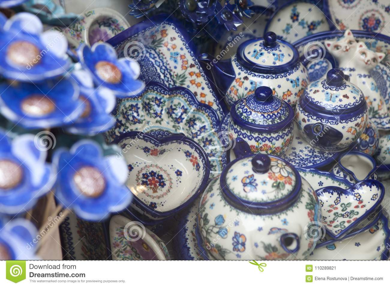 Royalty-Free Stock Photo & Ceramic Tableware With A Traditional Polish Design In A Souvenir ...