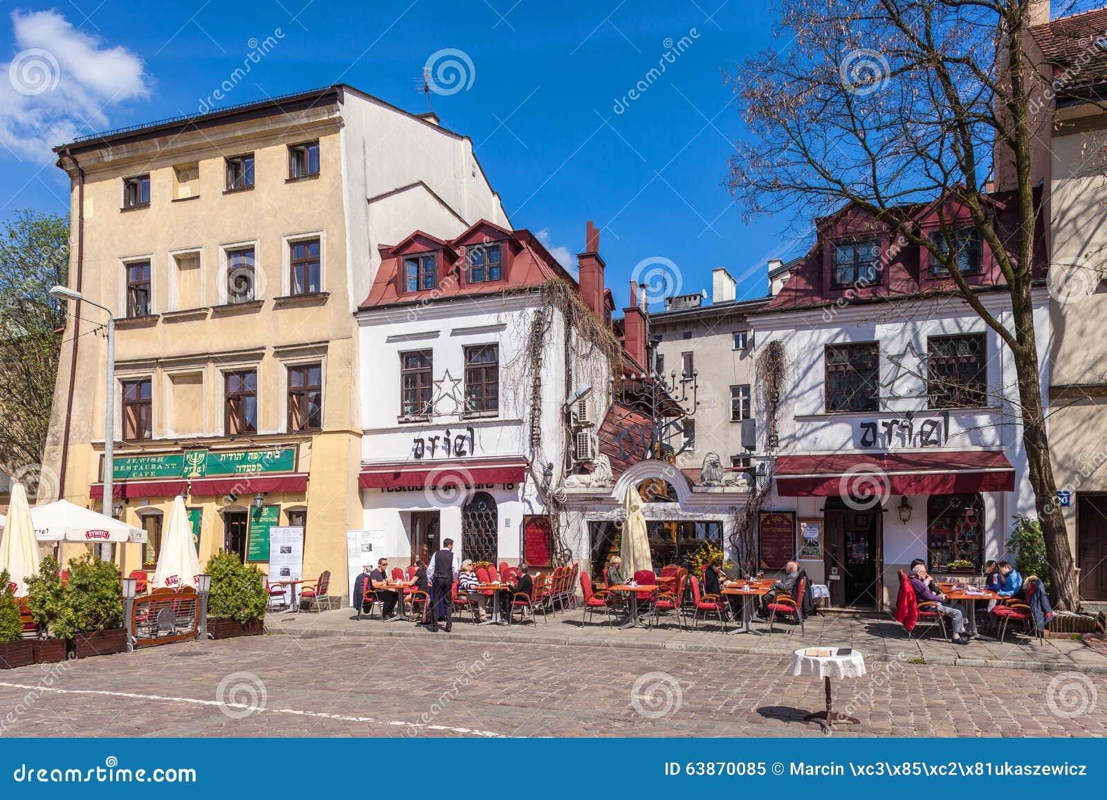 Krakow Poland Szeroka ulica, żydowski gromadzki Kazimierz