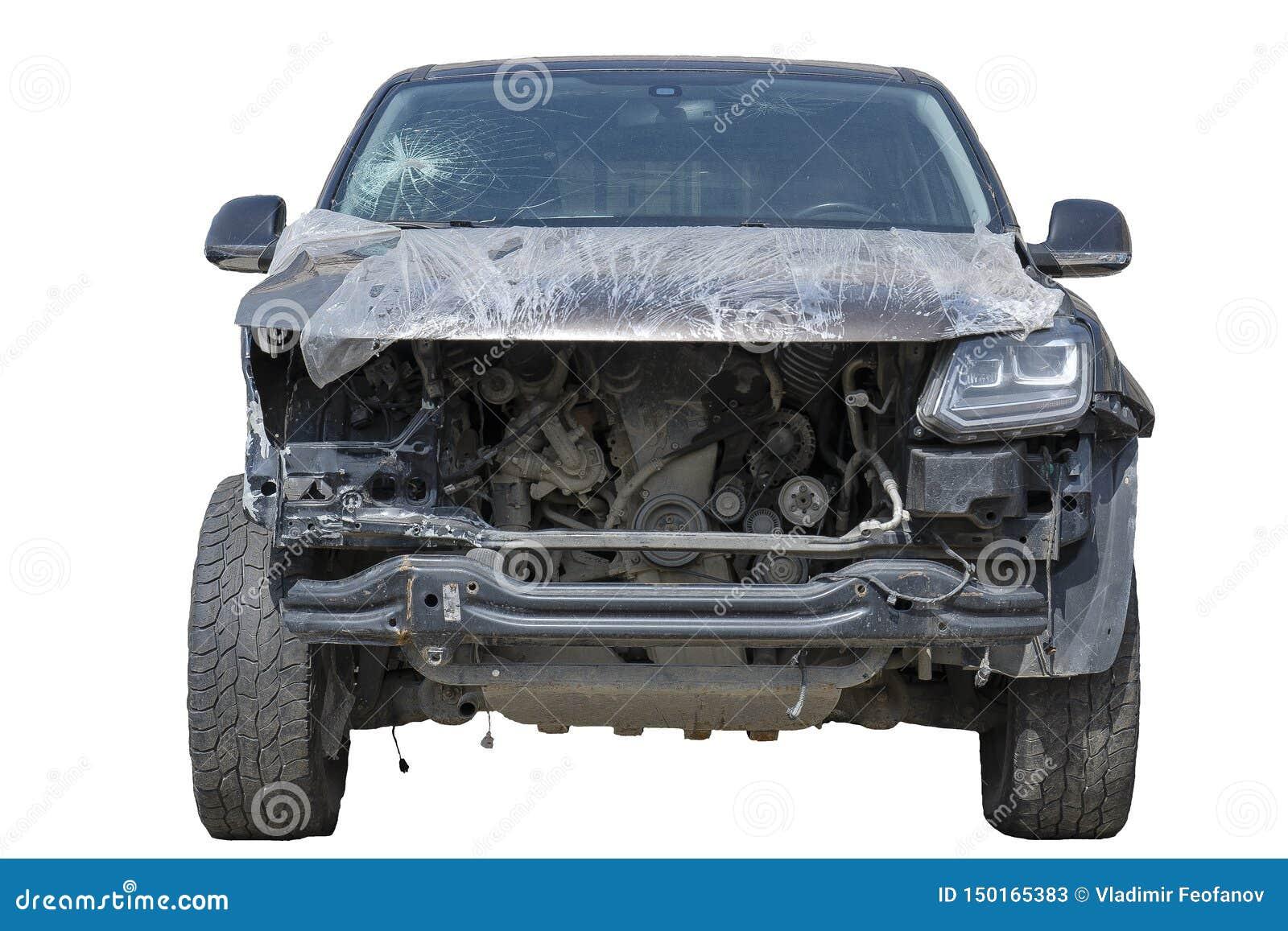 Kraks samochodowych ofiary, kraksa samochodowa frontowy samochód rozbijali w i zły łamają, łamana przednia szyba pasażer głowa Od
