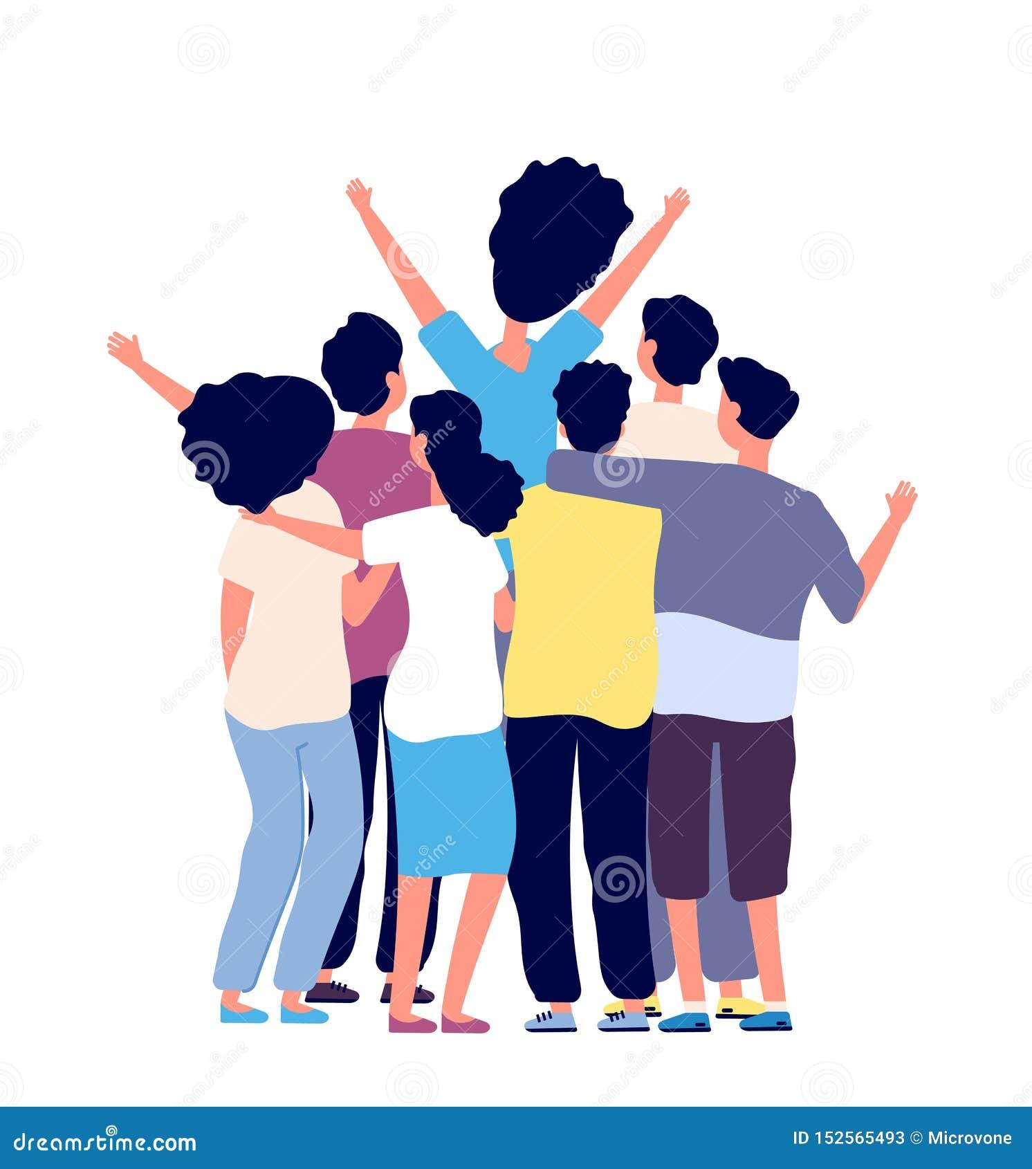 Krama f?r v?nner Ungdomargrupp tillsammans Kamratskap mellan folk, bästa vän Begrepp för vektor för kamratskapdag plant