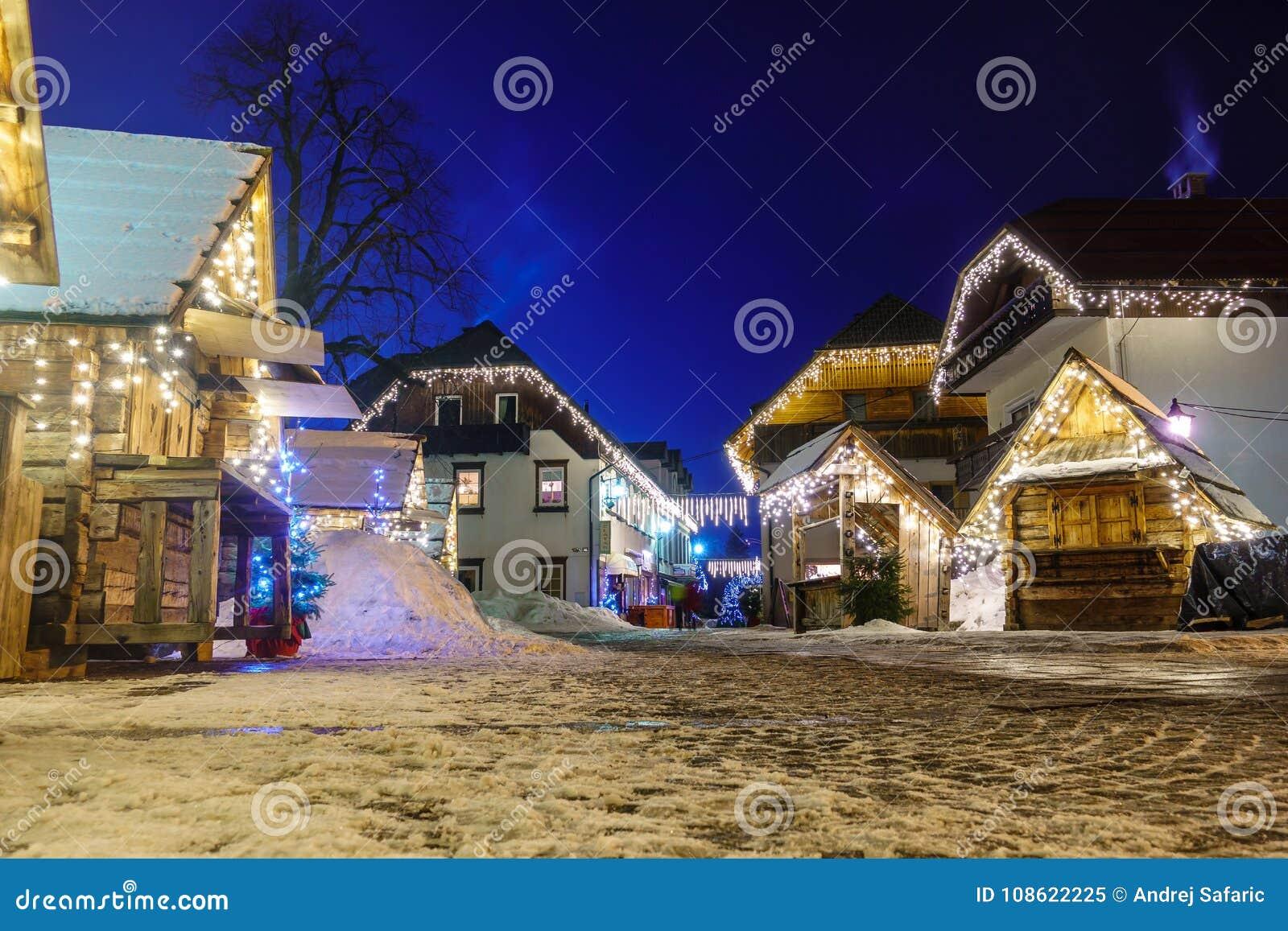 Kranjska Gora Christmas Decorated Square, Alpine village by night