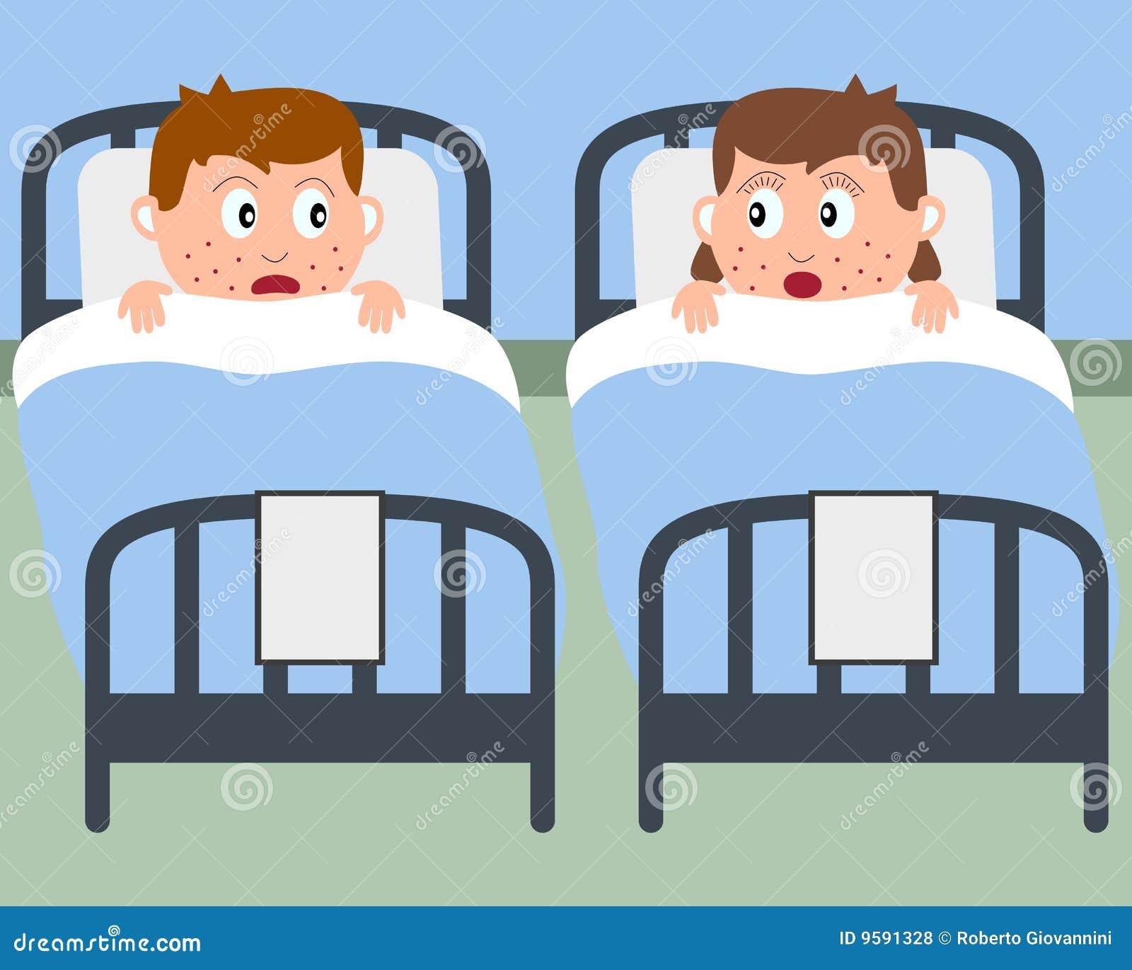 Kranke Kinder In Den Krankenhaus Betten Vektor Abbildung