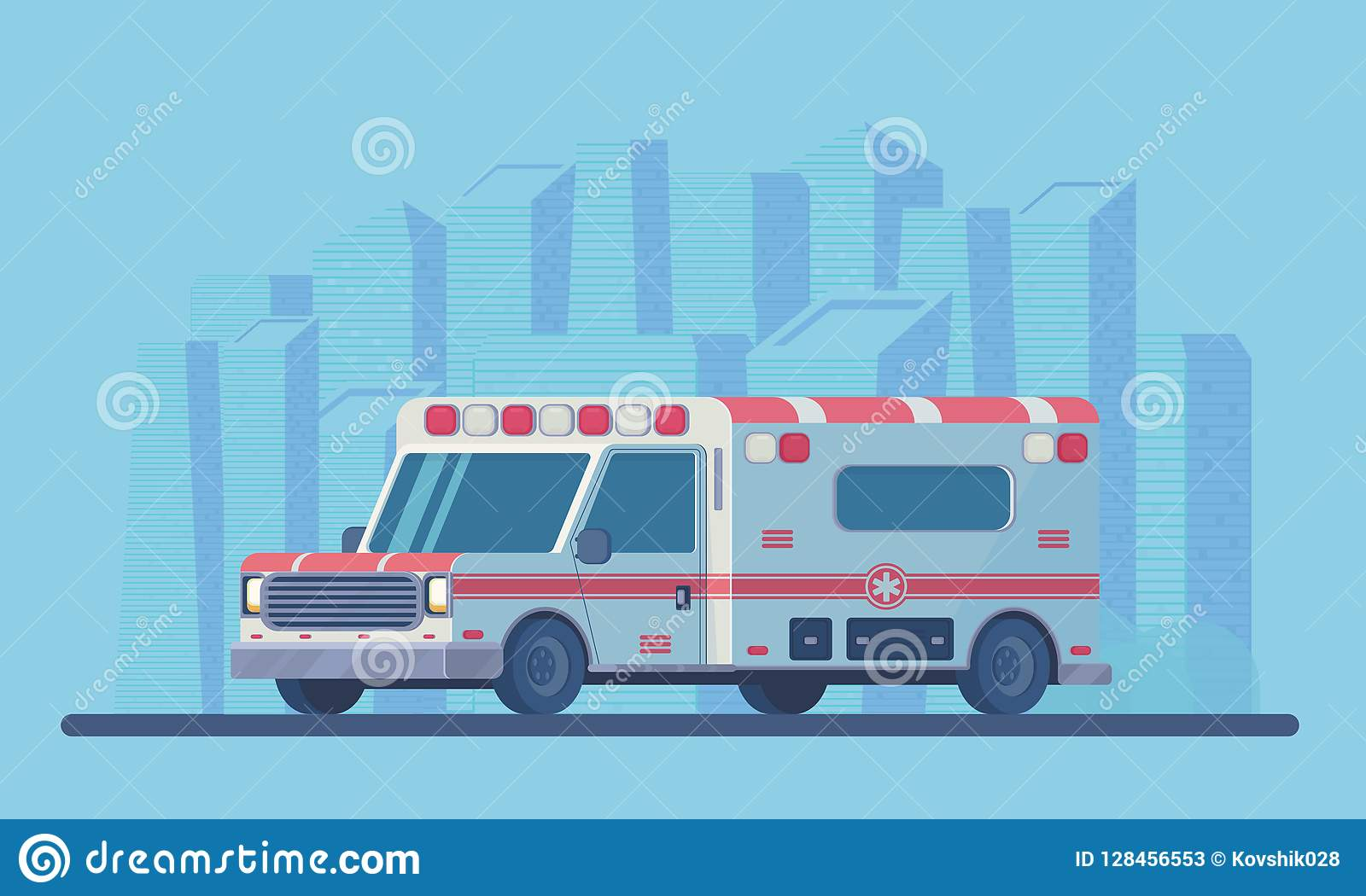 Krankenwagenauto mit Stadt scyscraper Landschaft Medizinisches Fahrzeug der ersten Hilfe Flache Art des Vektors