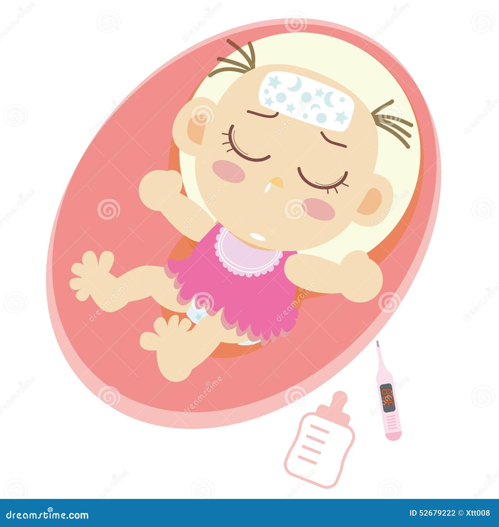 Krankes Baby Vektor Abbildung Illustration Von Bett 52679222