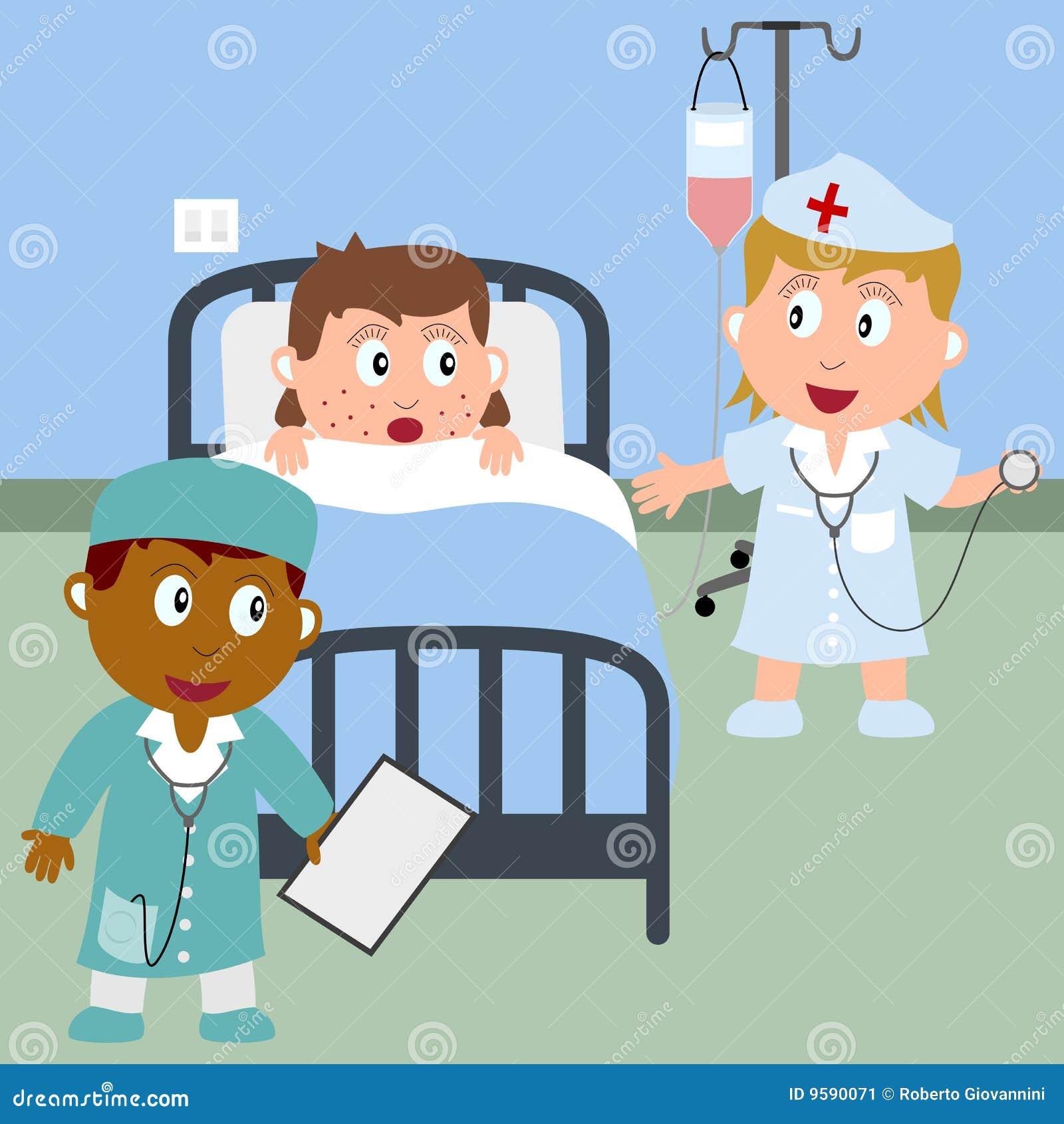 Krankes Madchen In Einem Krankenhaus Bett Vektor Abbildung