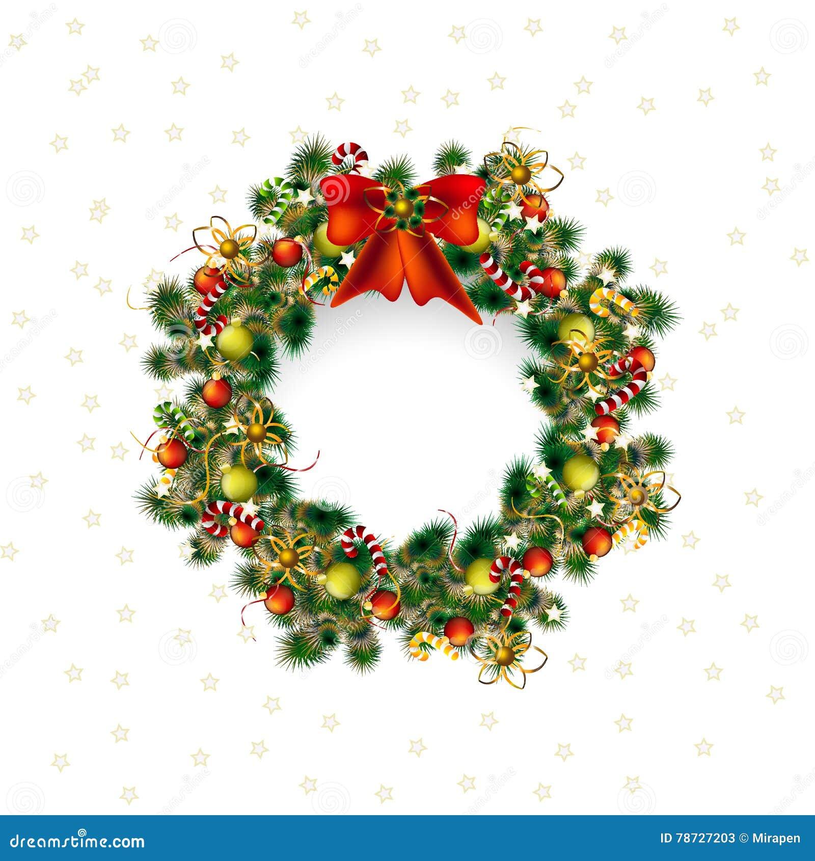 Krans för julhälsningkort, juldeko i vit bakgrund