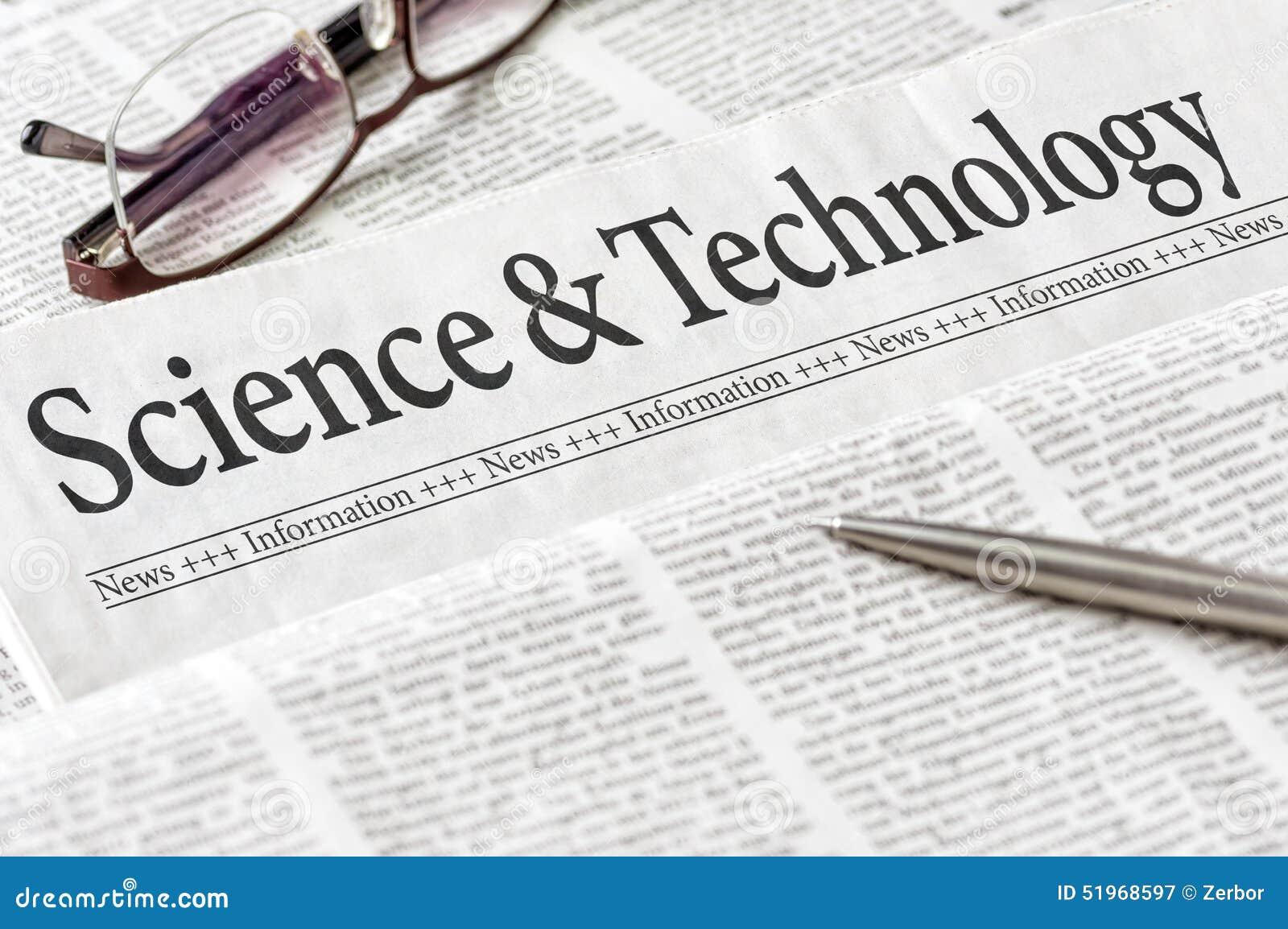 Krant met de de krantekopwetenschap en Technologie
