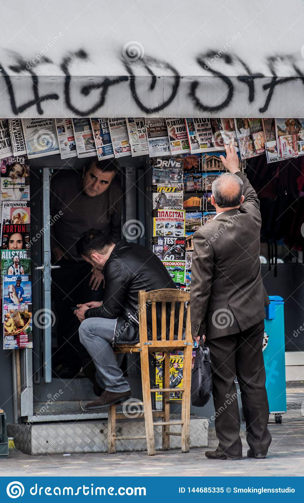 Krantentribune, Monastiraki, Atyhens, Griekenland