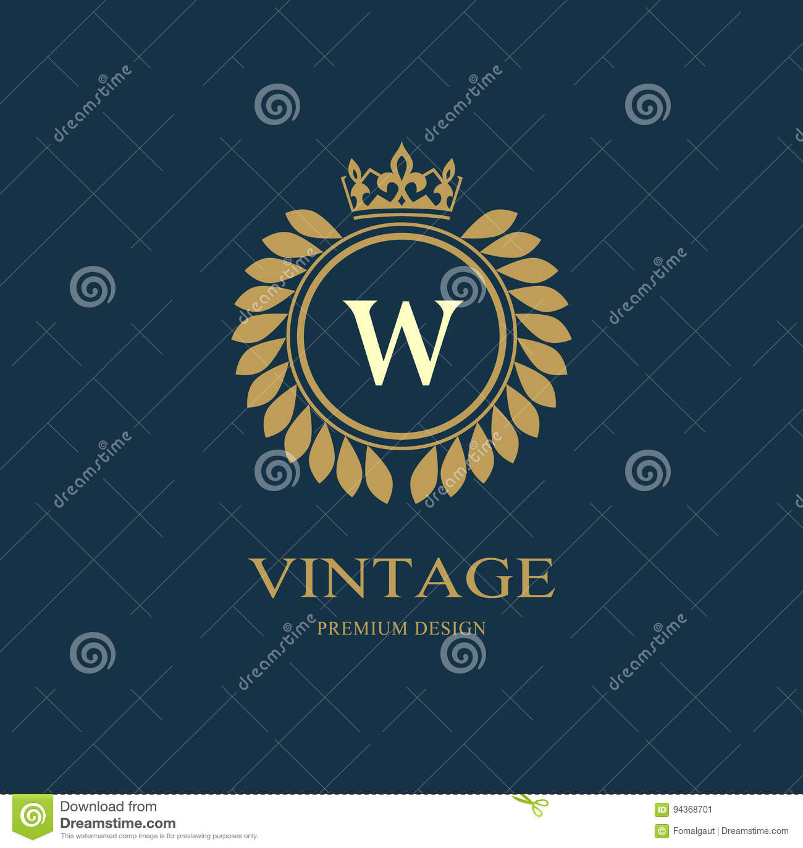 Kranz-Monogrammluxusdesign, würdevolle Schablone Elegantes schönes rundes mit Blumenlogo mit Krone Buchstabeemblemzeichen W für A