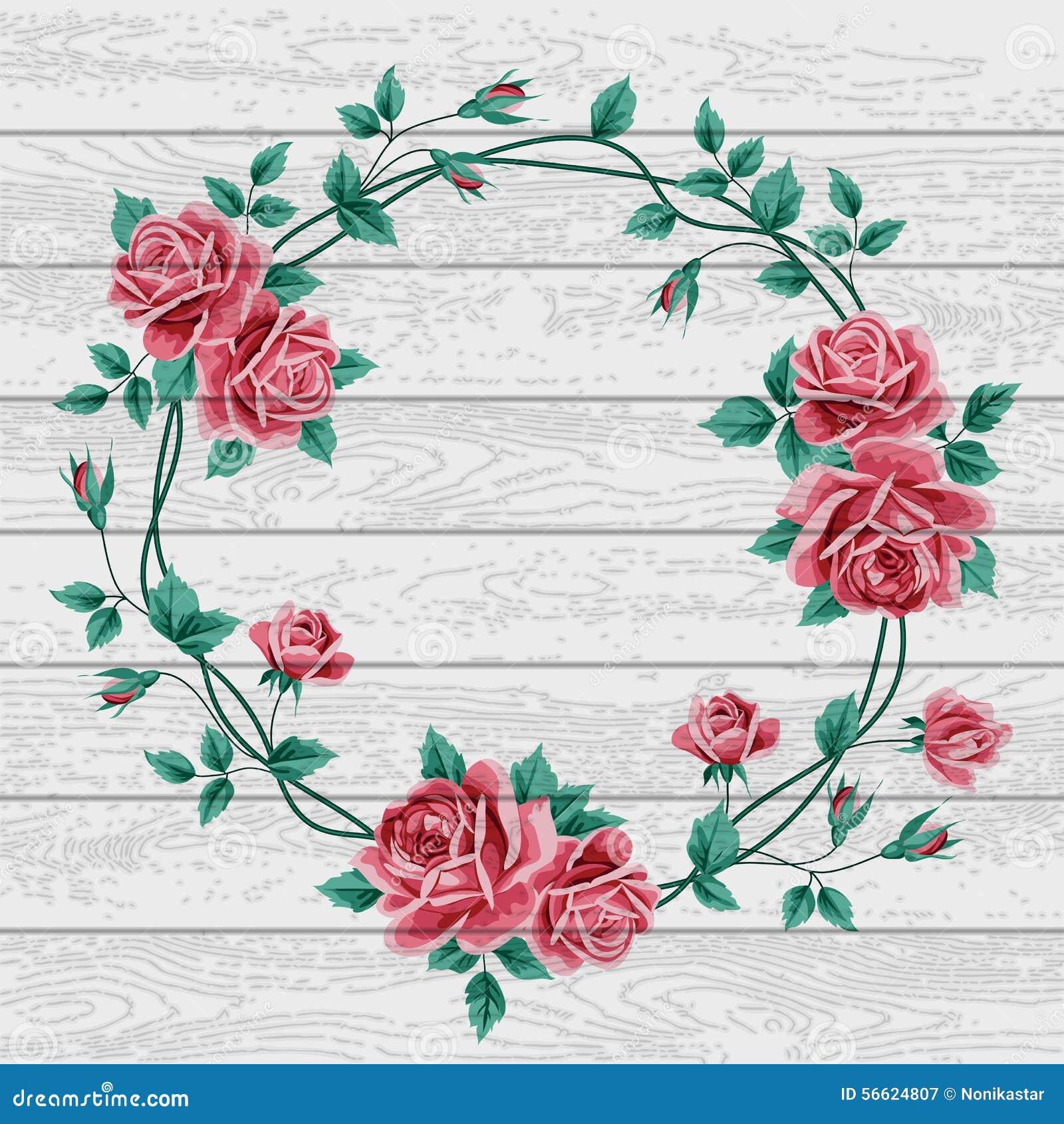 kranz von rosen auf holz vektor abbildung bild von liebe 56624807. Black Bedroom Furniture Sets. Home Design Ideas