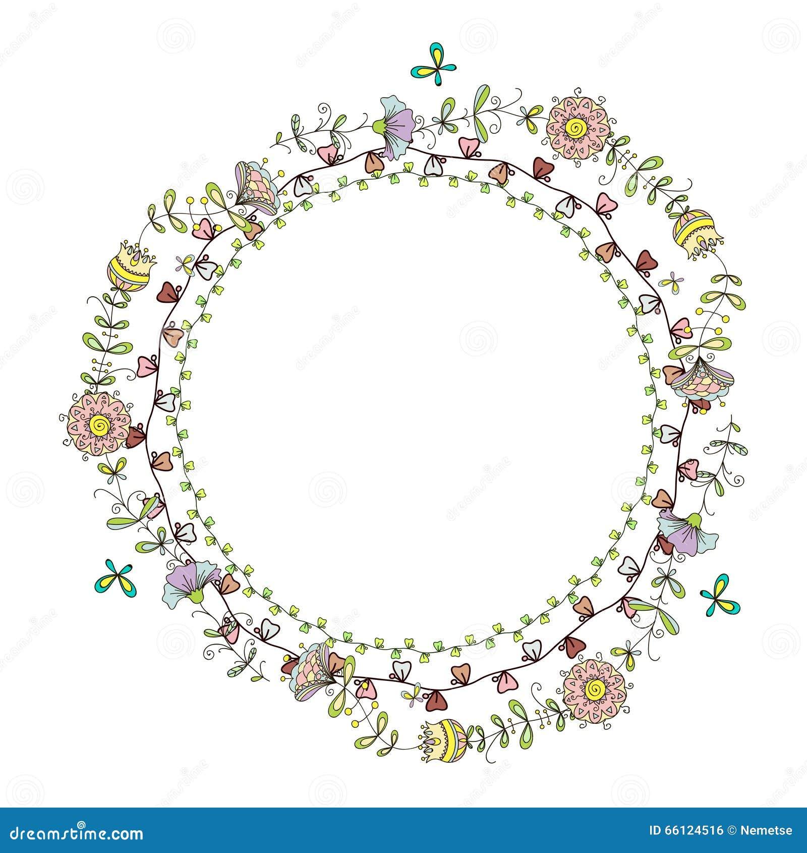 Kranzrahmen Mit Blumenmuster Vektor Abbildung - Illustration von ...