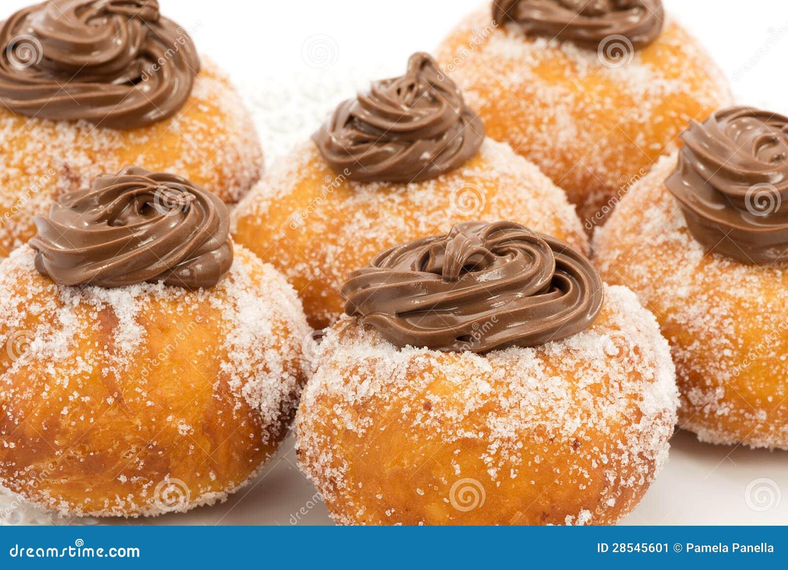Krapfen Con Cioccolato Immagine Stock Immagine Di Calorie 28545601
