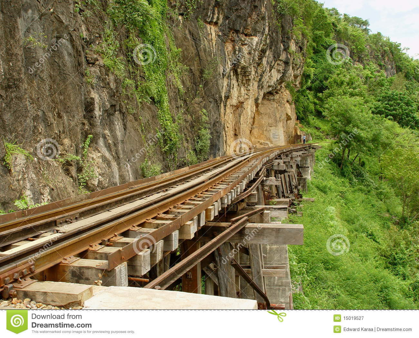 aka缅甸洞死亡臭名昭著的kanchanaburi krasae临近省铁路残余泰国.