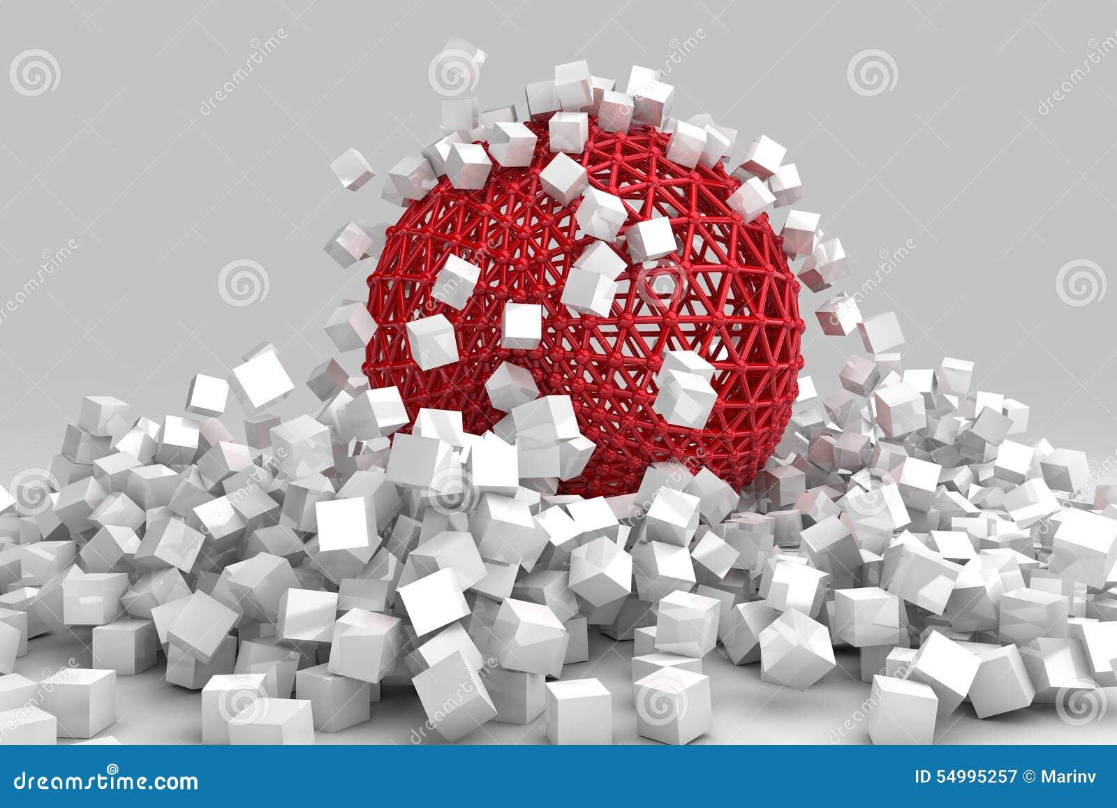 Krasch av vitkuber och den ihåliga sfären