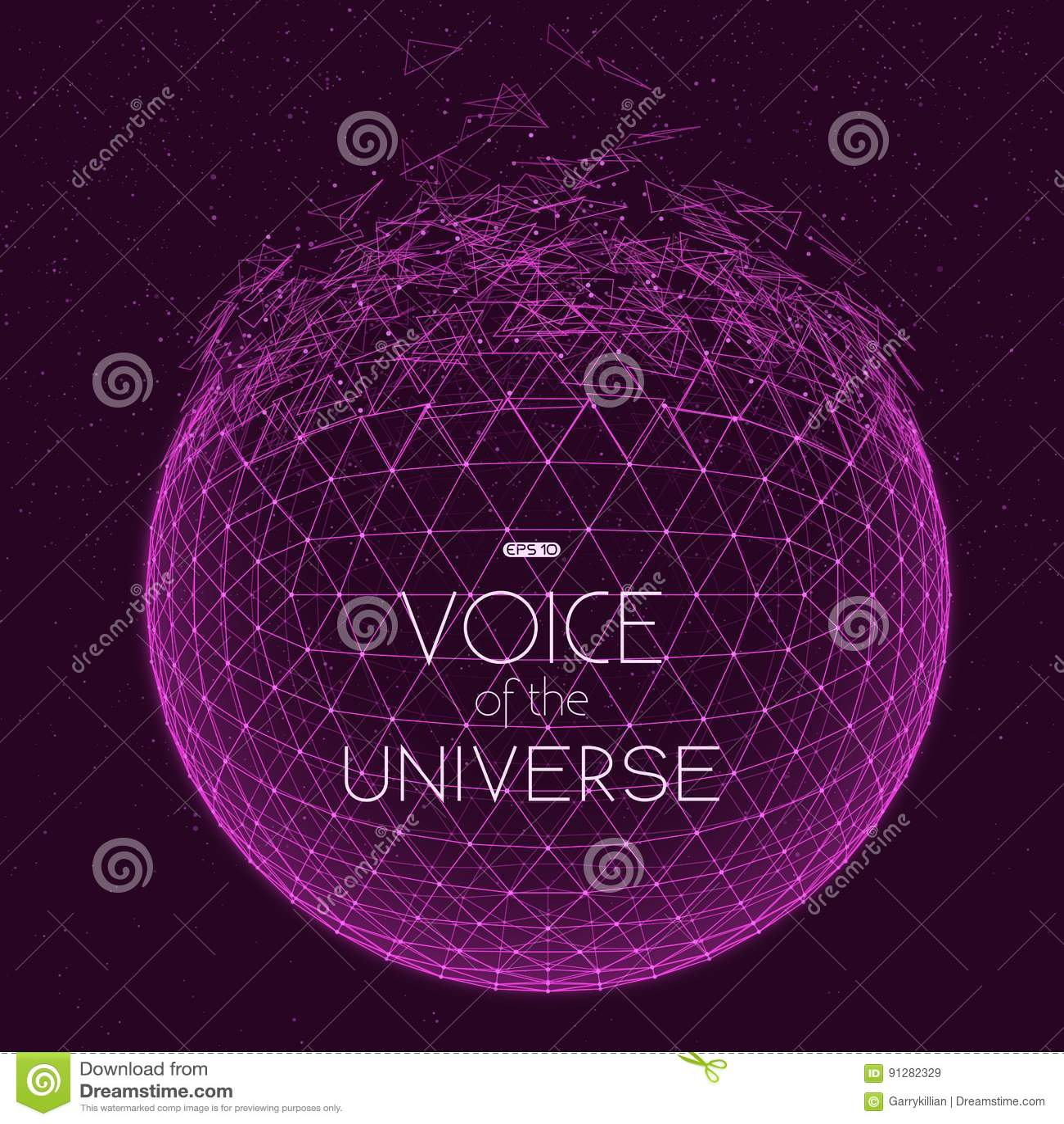 Krascha den violetta utrymmesfären Abstrakt vektorbakgrund med mycket små stjärnor Glöd av solen från botten