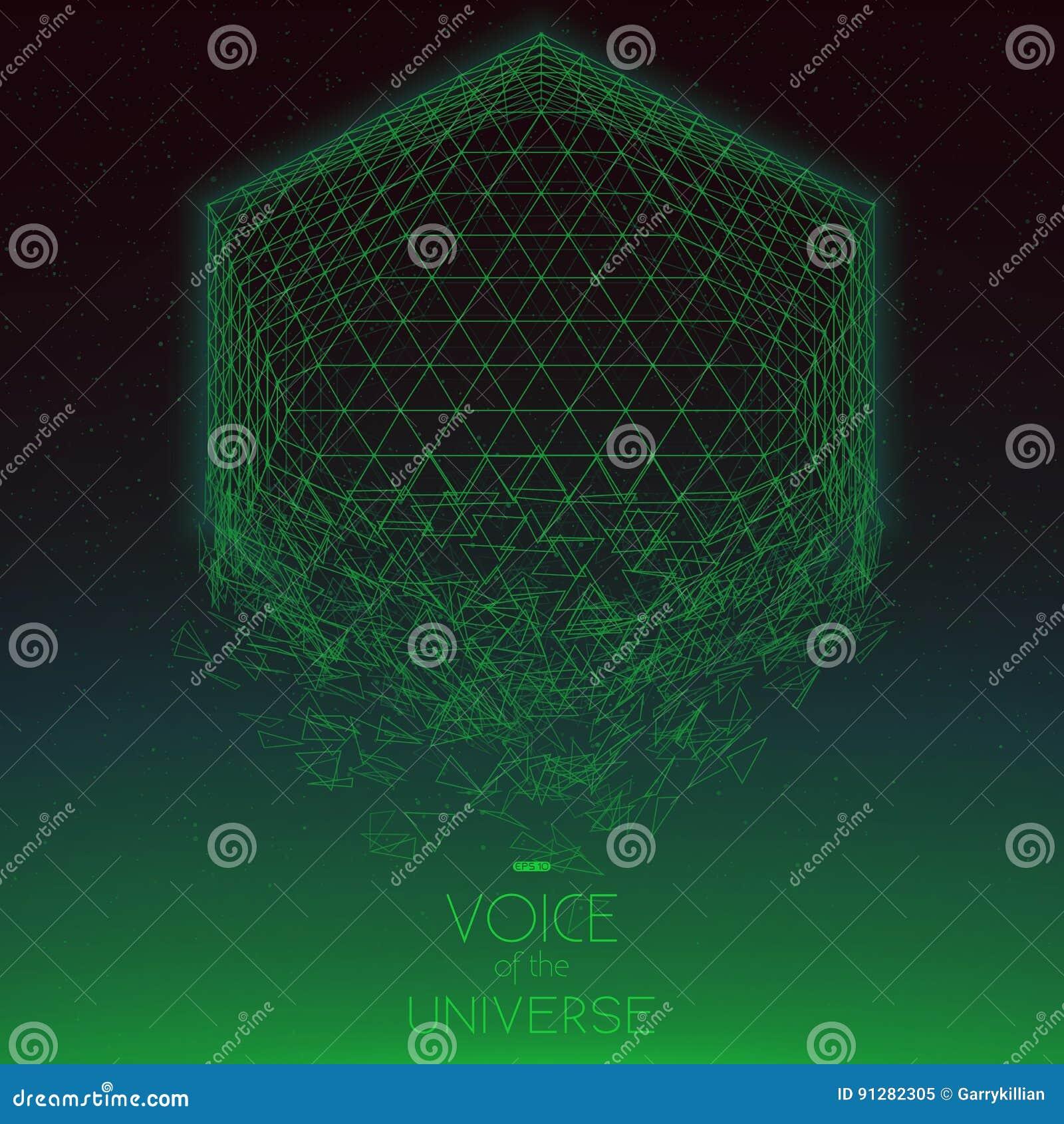 Krascha grönt objekt för utrymme Abstrakt vektorbakgrund med mycket små stjärnor Glöd av solen från botten
