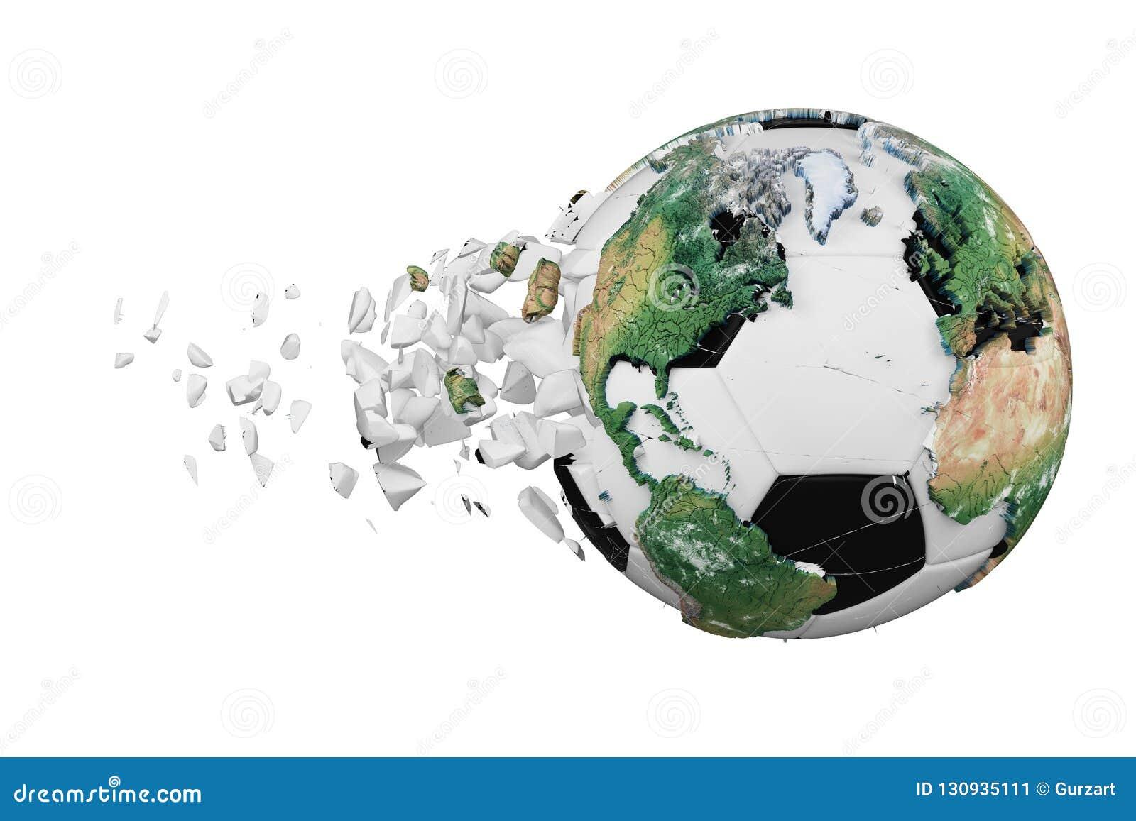 Kraschad bruten fotbollboll med begrepp för planetjordjordklot som isoleras på vit bakgrund Fotbollboll med realistiska kontinent
