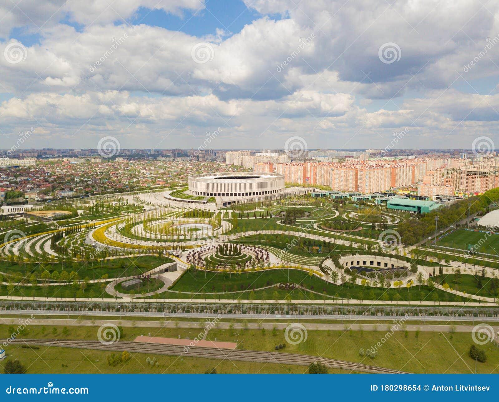 Krasnodar Russia April 2020 Aerial View Of Krasnodar Cityscape And Fc Krasnodar Stadium Editorial Stock Image Image Of View Football 180298654
