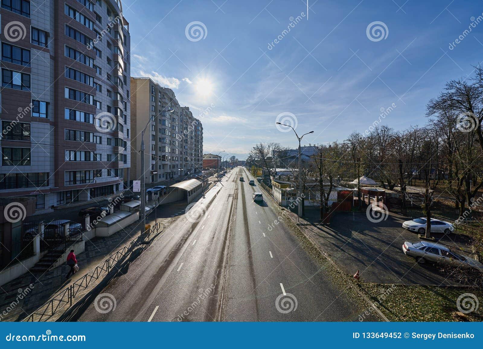 Krasnodar Kubanskaya Naberezhnaya Cityscape At The Beginning Of Winter Roads Buildings Cars Infrastructure Sunny Weather Editorial Photography Image Of Krasnodar District 133649452